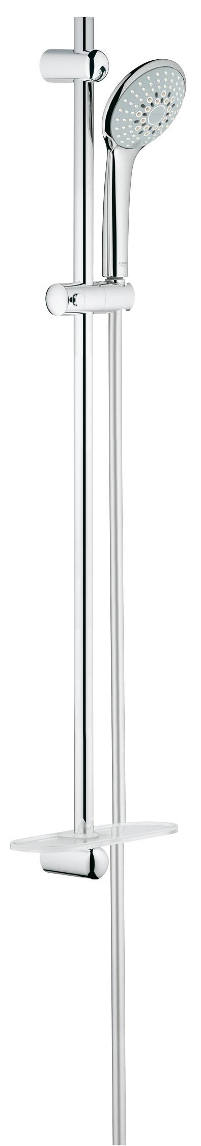 Душевой комплект GROHE Euphoria, штанга 900мм. (27227001)27227001Включает в себя: Ручной душ Champagne (27 222 000) Душевая штанга 900 мм (27 500 000) GROHE QuickFix (регулируемое расстояние между настенными креплениями штанги позволяет использовать для монтажа уже имеющиеся отверстия в стене) Душевой шланг 1750 мм (28 388 000) Полочка GROHE EasyReach™ (27 596 000) GROHE DreamSpray превосходный поток воды GROHE SprayDimmer GROHE StarLight хромированная поверхность С системой SpeedClean против известковых отложений Внутренний охлаждающий канал для продолжительного срока службы Twistfree против перекручивания шланга Видео по установке является исключительно информационным. Установка должна проводиться профессионалами!