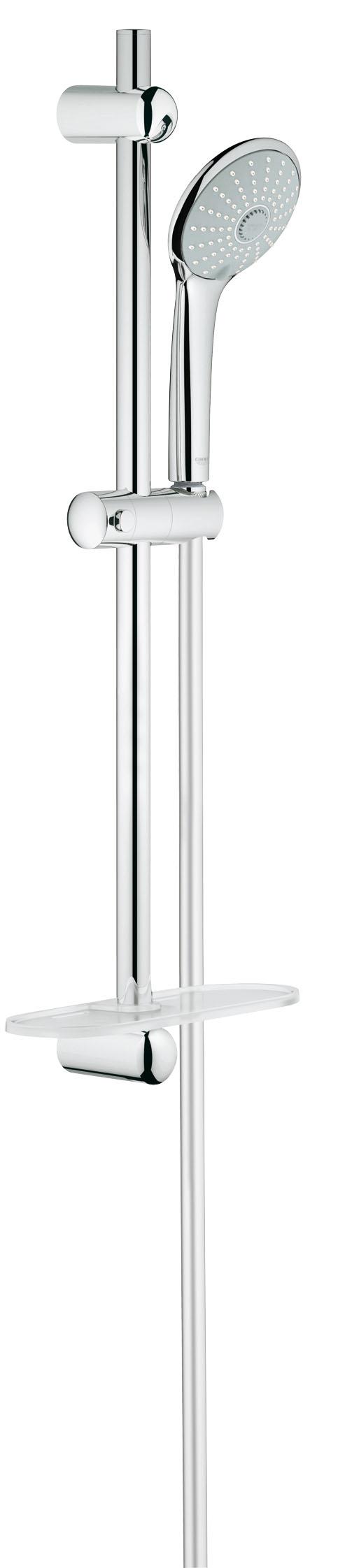 Душевой комплект GROHE Euphoria, штанга 600 мм. (27231001)BA900GROHE Euphoria 110 Massage: душевой гарнитур со штангой для бесподобно расслабляющих душевых процедур Этот ручной душ располагает приятным дополнением к стандартному режиму Rain и его водосберегающей версии SmartRain, а именно расслабляющим режимом Massage, в котором вода подается пульсирующей струей, позволяющей сделать приятный массаж, например, головы и шеи. Наслаждайтесь расслабляющими душевыми процедурами, установив в своей ванной комнате этот душевой гарнитур со множеством достоинств: к примеру, с помощью системы QuickFix Вы сможете быстро и легко установить входящую в комплект 600-миллиметровую душевую штангу, используя имеющиеся отверстия в стене или просверлив новые в межплиточных швах. В комплект входит шланг TwistFree, с которым Вы забудете о распутывании перекрученных душевых шлангов. Благодаря системе предотвращения известкования SpeedClean и хромированному покрытию GROHE StarLight данный гарнитур чрезвычайно неприхотлив в уходе и никогда не утратит своего ослепительного блеска. Комплектацию этого гарнитура идеальным образом дополняет полочка GROHE EasyReach, с которой шампунь и гель для душа всегда будут у Вас под рукой.Особенности:Включает в себя: Ручной душ Massage (27 221 000) Душевая штанга, 600 мм (27 499 000) GROHE QuickFix (регулируемое расстояние между настеннымиКреплениями штанги позволяет использовать для монтажаУже имеющиеся отверстия в стене)Душевой шланг 1750 мм (28 388 000) Полочка GROHE EasyReach™(27 596 000) GROHE DreamSpray превосходный поток воды GROHE SprayDimmer GROHE StarLight хромированная поверхностьС системой SpeedClean против известковых отложений Внутренний охлаждающий канал для продолжительного срока службы Twistfree против перекручивания шлангаВидео по установке является исключительно информационным. Установка должна проводиться профессионалами!