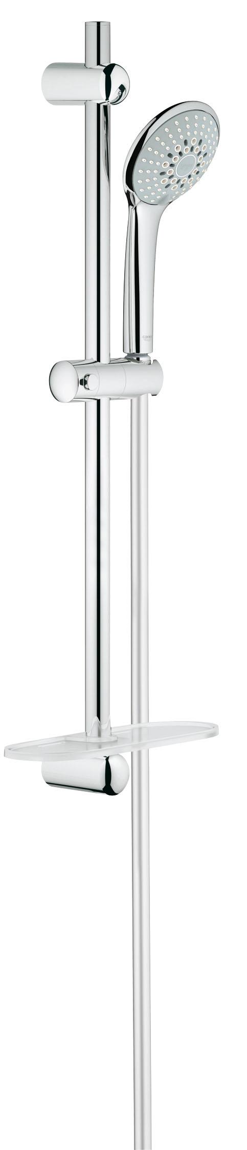 Душевой комплект GROHE Euphoria, штанга 600мм. (27232001)27232001GROHE Euphoria 110 Champagne: стильный душевой гарнитур со штангой для роскошных душевых процедур В дополнение к режимам Rain и SmartRain, данный ручной душ из серии GROHE Euphoria также оснащен роскошным режимом струи Champagne, в котором воздух затягивается в душевую головку и смешивается с водой. При этом создается чрезвычайно расслабляющий и нежный поток воды, окутывающий Вас с головы до ног. Данный ручной душ комплектуется душевой штангой длиной 600 мм, а также запатентованной системой крепления QuickFix, которая позволяет быстро и легко осуществить монтаж, используя имеющиеся отверстия в стене или просверлив новые в межплиточных швах. Благодаря входящему в комплект шлангу TwistFree распутывание перекрученных душевых шлангов останется для Вас в прошлом. Износостойкое покрытие GROHE StarLight чрезвычайно неприхотливо в уходе. В комплект входит еще один удобный аксессуар – полочка GROHE EasyReach, с которой шампунь и гель для душа всегда будут под рукой. Особенности: ...