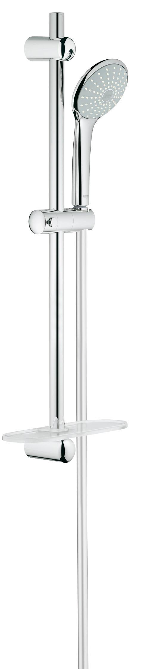 Душевой комплект GROHE Euphoria, штанга 600мм. (27266001)27266001Включает в себя: Ручной душ Mono (27 265) Душевая штанга, 600 мм (27 499 000) GROHE QuickFix (регулируемое расстояние между настенными креплениями штанги позволяет использовать для монтажа уже имеющиеся отверстия в стене) Душевой шланг 1750 мм (28 388 000) Полочка GROHE EasyReach™ (27 596 000) GROHE DreamSpray превосходный поток воды GROHE StarLight хромированная поверхность С системой SpeedClean против известковых отложений Внутренний охлаждающий канал для продолжительного срока службы Twistfree против перекручивания шланга Видео по установке является исключительно информационным. Установка должна проводиться профессионалами!
