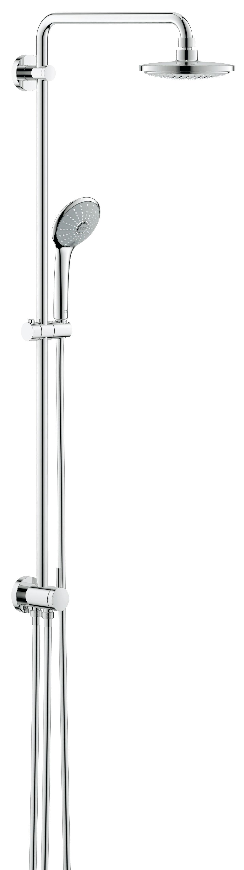 Душевая система GROHE Euphoria с переключателем (27421001)27421001Включает в себя: Горизонтальный поворотный душевой Кронштейн 450 мм Переключатель с верхнего на ручной душ Верхний душ Euphoria Cosmopolitan (27 492 000) С режимом Rain С шаровым шарниром Угол поворота ± 15° Ручной душ Euphoria 110 Massage (27 239 000) Регулируется по высоте с помощью Скользящего элемента Silverflex Душевой шланг 800 мм Подключение воды к смесителю через 1/2?-резьбу металлического шланга (28 144 000) Душевой шланг 1750 мм (28 388 000) Минимальный расход воды 7л/мин GROHE EcoJoy ограничитель расхода воды 9,5 л/мин GROHE DreamSpray превосходный поток воды GROHE StarLight хромированная поверхность С системой SpeedClean против известковых отложений Внутренний охлаждающий канал для продолжительного срока службы Twistfree против перекручивания шланга Совместим с проточным водонагревателем От 18 kВ/ч Рекомендованное минимальное давление 1.0 бар