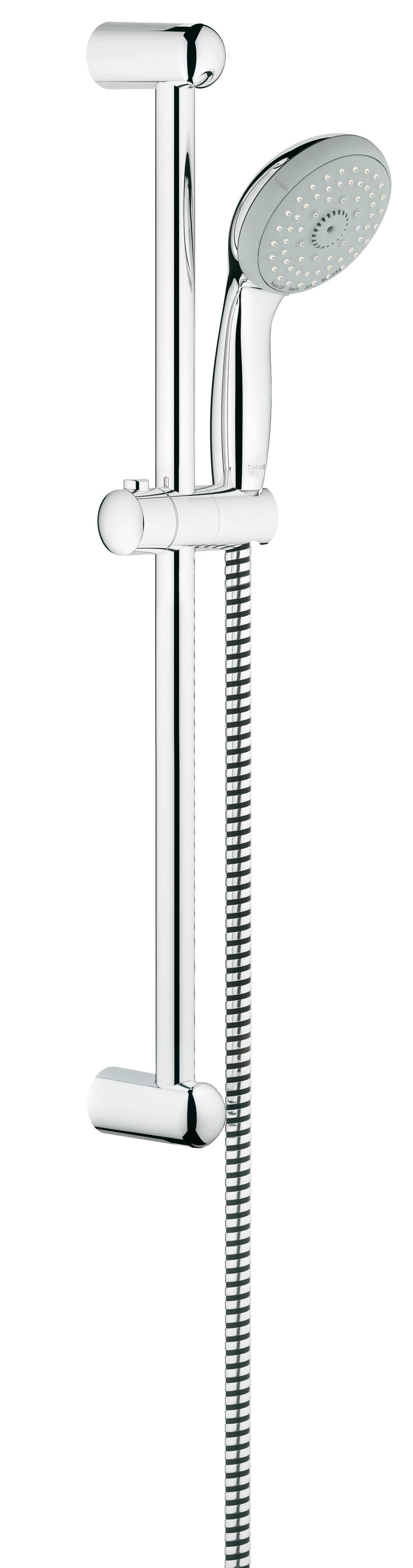 Душевой гарнитур GROHE Tempesta Classic (ручной душ, штанга 600 мм, шланг 1750 мм) (27795000)27795000GROHE New Tempesta 100: душевой гарнитур со штангой – с четырьмя режимами струи для Вашего комфорта Этот душевой гарнитур из серии GROHE New Tempesta 100, состоящий из ручного душа, душевой штанги и душевого шланга, отличается великолепными функциональными характеристиками и располагает четырьмя режимами струи, с которыми принятие душа превратится в восхитительное удовольствие. После длинного рабочего дня устройте себе расслабляющий массаж головы и шеи с помощью режима Massage, а затем – погрузитесь в наслаждение ласковым летним дождем, переключив душ в режим Rain. В режиме GROHE Rain O? Вас окутает невероятно нежный поток капель, а в интенсивном режиме Jet струя воды поможет тонизировать кожный покров. Режим Jet также поможет Вам быстро ополоснуть душевой поддон после купания. Душевая головка легко очищается от известковых отложений благодаря системе SpeedClean, предотвращающей известкование. Сияющий блеск износостойкого хромированного покрытия GROHE StarLight легко поддерживать в...