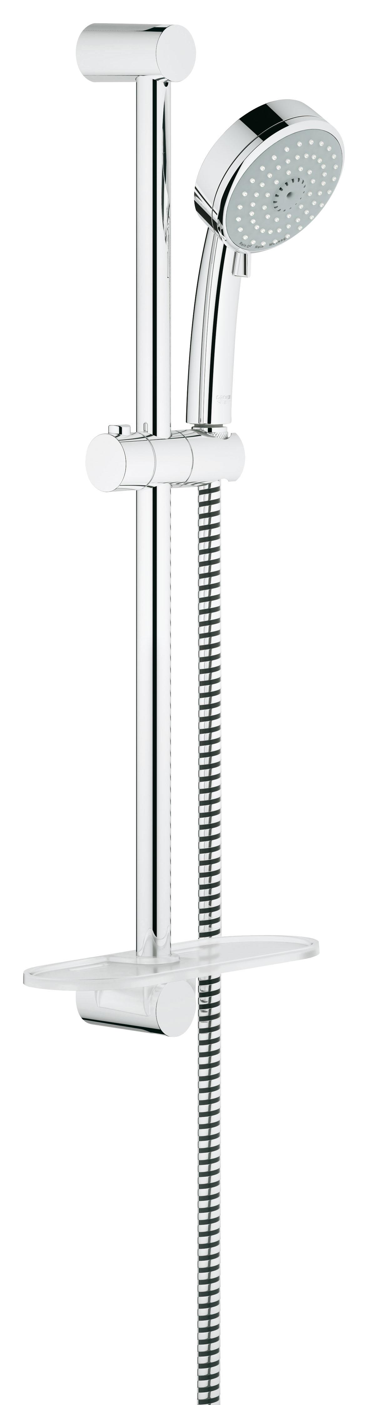 Душевой гарнитур Grohe Tempesta Cosmopolitan 100, 3 режима. (27929001)655.01Состоит из Ручной душ (27 572 001) Душевая штанга, 600 мм (27 521 000) Душевой шланг Relexaflex 1750 мм 1/2? x 1/2? (28 154 000) Полочка GROHE EasyReach™(27 596 000) GROHE DreamSpray превосходный поток воды GROHE StarLight хромированная поверхностьС системой SpeedClean против известковых отложений Внутренний охлаждающий канал для продолжительного срока службы Может использоваться с проточным водонагревателем Минимальное давление 1,0 барВидео по установке является исключительно информационным. Установка должна проводиться профессионалами!