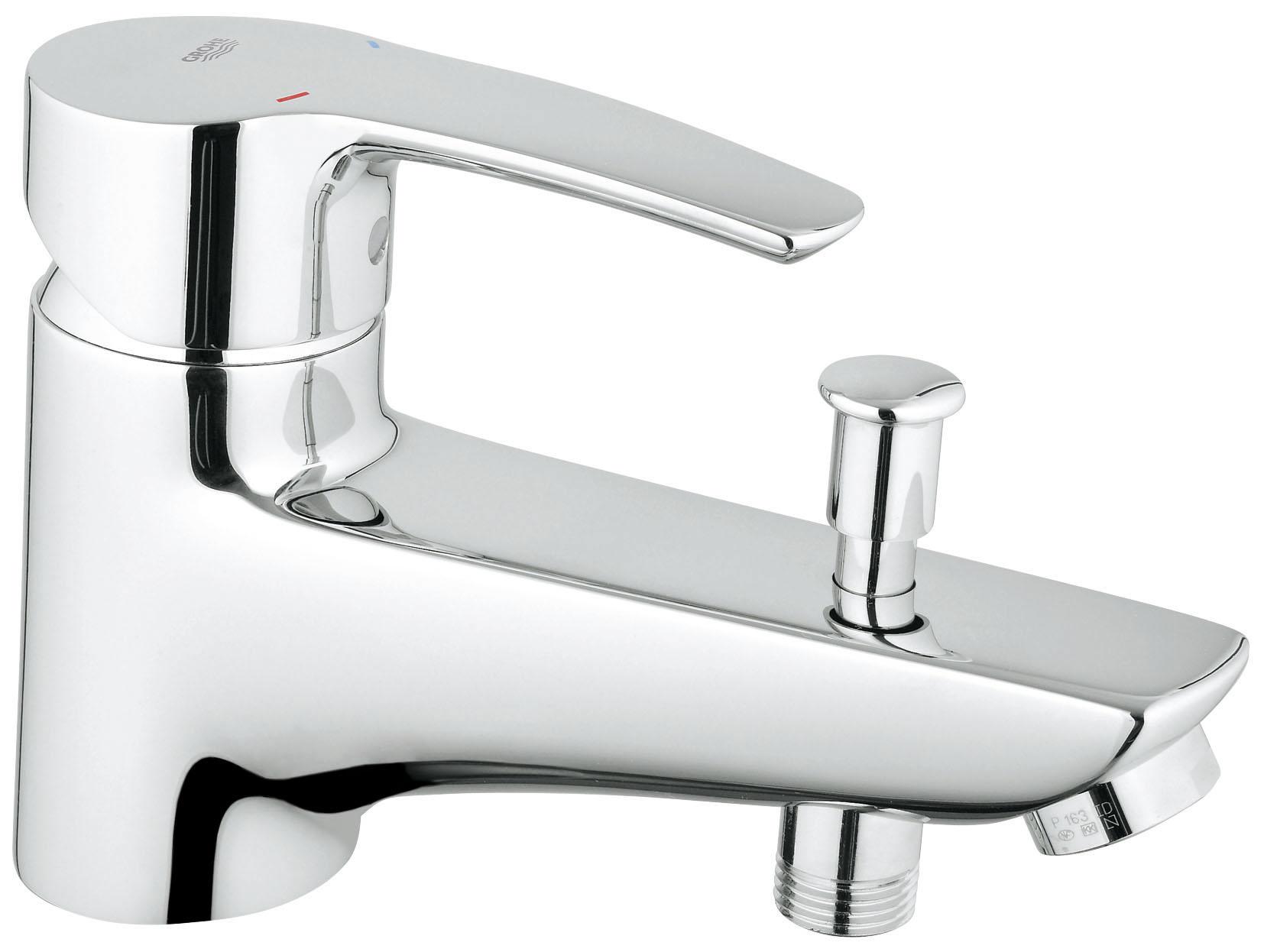 Смеситель для ванны GROHE Eurostyle c креплением на бортик (33614001)BA900Монтаж на одно отверстиеМеталлический рычаг46 мм керамический картридж с Eco-Override-StopРегулировка расхода водыВозможность установки мин. расхода 2,5 л/мин.Автоматический переключатель: ванна/душВстроенный обратный клапан в душевом отводе 1/2?АэраторГибкая подводкаДополнительный ограничитель температурыС защитой от обратного потокаGROHE StarLight хромированная поверхность