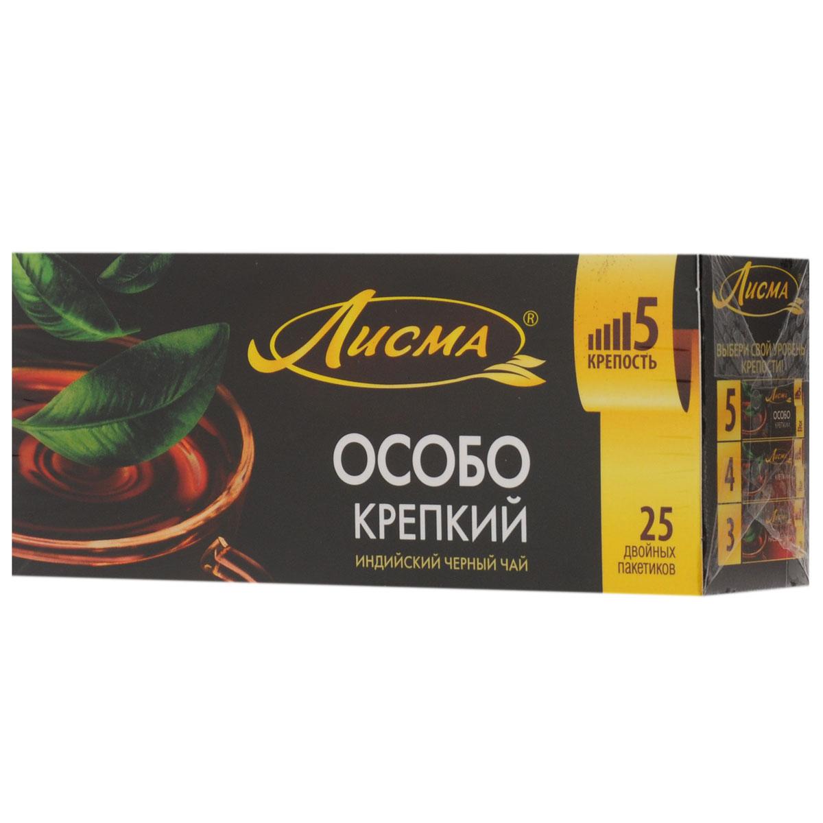 Лисма Особо Крепкий черный чай в пакетиках, 25 шт0120710Лисма Особо Крепкий - индийский черный байховый чай в пакетиках. В коробке содержится 25 пакетиков по 2,3 грамма.