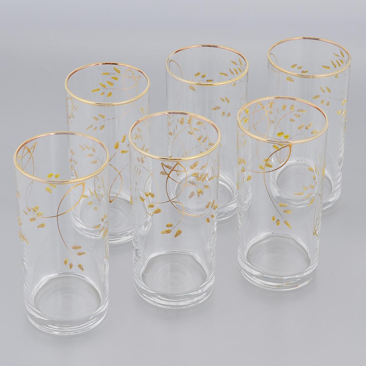 Набор стаканов для коктейлей Гусь-Хрустальный Колосок, 290 мл, 6 штK28-402Набор Гусь-Хрустальный Колосок состоит из 6 стаканов для коктейлей, изготовленных из высококачественного натрий-кальций-силикатного стекла. Изделия оформлены красивым зеркальным покрытием и золотистым глянцевым орнаментом. Такой набор прекрасно дополнит праздничный стол и станет желанным подарком в любом доме. Разрешается мыть в посудомоечной машине. Диаметр стакана (по верхнему краю): 6 см. Высота стакана: 12,5 см.