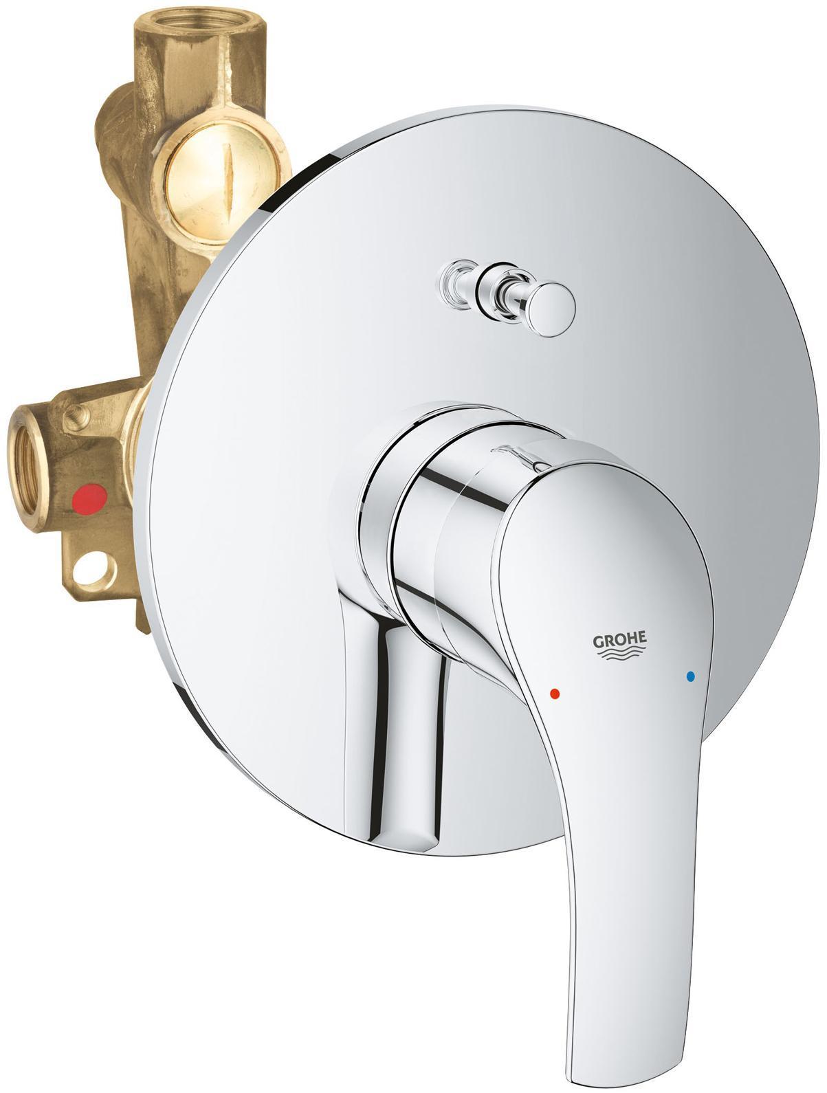 Смеситель для ванны GROHE Eurosmart New встраиваемый (со встроенным механизмом), хром  смеситель для душа grohe eurosmart new встраиваемый со встроенным механизмом хром