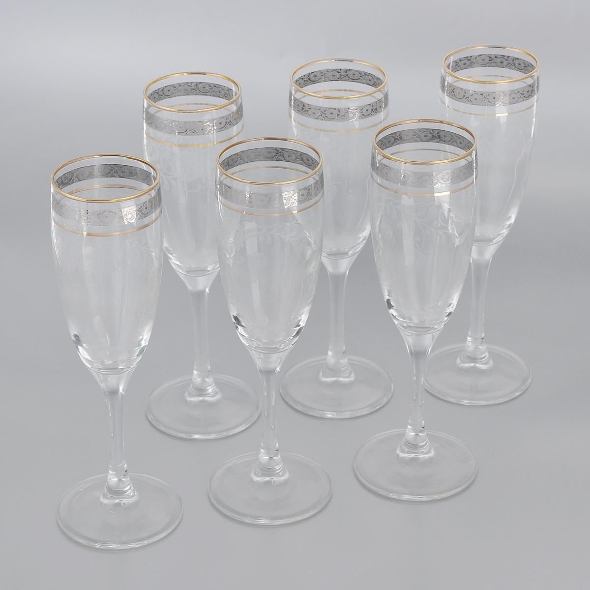 Набор бокалов Гусь-Хрустальный Нежность, 170 мл, 6 штTL34-1687Набор Гусь-Хрустальный Нежность состоит из 6 бокалов на длинных тонких ножках, изготовленных из высококачественного натрий-кальций-силикатного стекла. Изделия оформлены красивым зеркальным покрытием и прозрачным орнаментом. Бокалы предназначены для шампанского или вина. Такой набор прекрасно дополнит праздничный стол и станет желанным подарком в любом доме. Разрешается мыть в посудомоечной машине. Диаметр бокала (по верхнему краю): 5 см. Высота бокала: 20 см.
