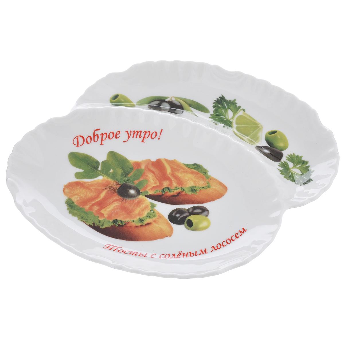 Менажница LarangE Тосты с соленым лососем, 2 секцииVT-1520(SR)Изящная менажница LarangE Тосты с соленым лососем, выполненная из высококачественного прочного фарфора, состоит из двух секций. Некоторые блюда можно подавать только в менажнице, чтобы не произошло смешение вкусовых оттенков гарниров. Также менажница может быть использована в качестве посуды для нескольких видов салатов или закусок. Менажница LarangE Тосты с соленым лососем станет замечательной деталью сервировки и великолепным украшением праздничного стола.Можно использовать в СВЧ печах, духовом шкафу и холодильнике. Не применять абразивные чистящие вещества.Количество секций: 2.Размер секций менажницы: 16 см х 10,5 см; 16 см х 4,5 см.Высота стенки менажницы: 2,5 см.