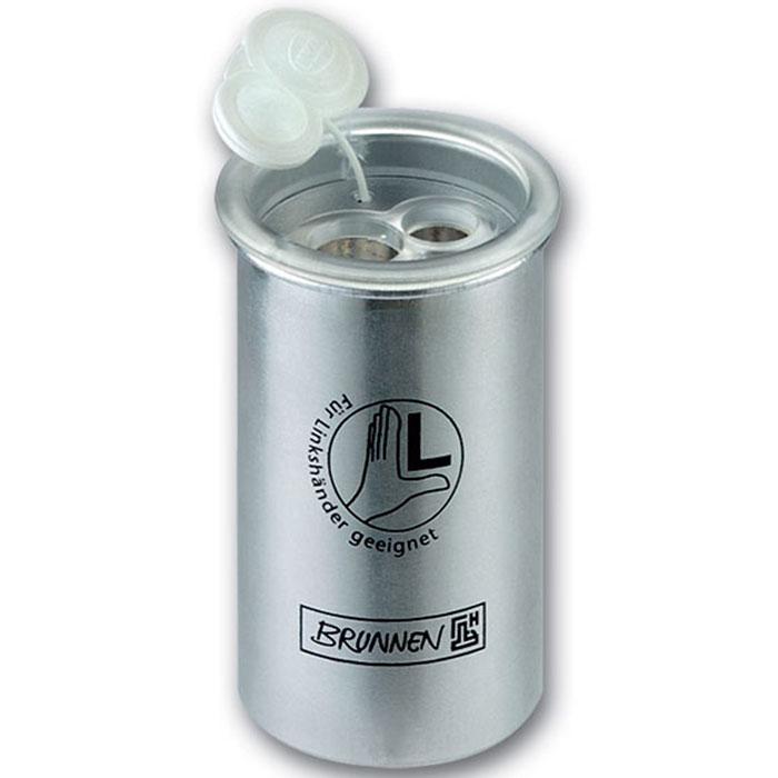 Brunnen Точилка двойная, металлическая, для левшей29847\BCDТочилка двойная, для левшей, с двумя отверстиями выполнена из металла серого цвета. В точилке имеются два отверстия для карандашей разного диаметра, подходит для различных видов карандашей. Отверстия закрываются удобной пластиковой крышкой. Вместительный контейнер в форме стаканчика для сбора стружки, очень удобен для использования.