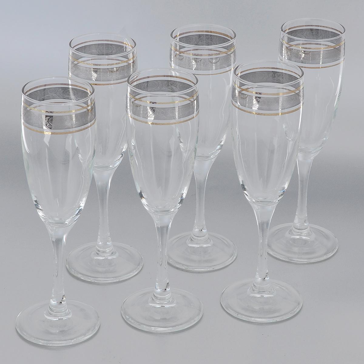 Набор бокалов Гусь-Хрустальный Первоцвет, 170 мл, 6 штVT-1520(SR)Набор Гусь-Хрустальный Первоцвет состоит из 6 бокалов на длинных тонких ножках, изготовленных из высококачественного натрий-кальций-силикатного стекла. Изделия оформлены красивым зеркальным покрытием с прозрачным орнаментом. Бокалы предназначены для шампанского или вина. Такой набор прекрасно дополнит праздничный стол и станет желанным подарком в любом доме. Разрешается мыть в посудомоечной машине. Диаметр бокала (по верхнему краю): 5 см. Высота бокала: 20 см.