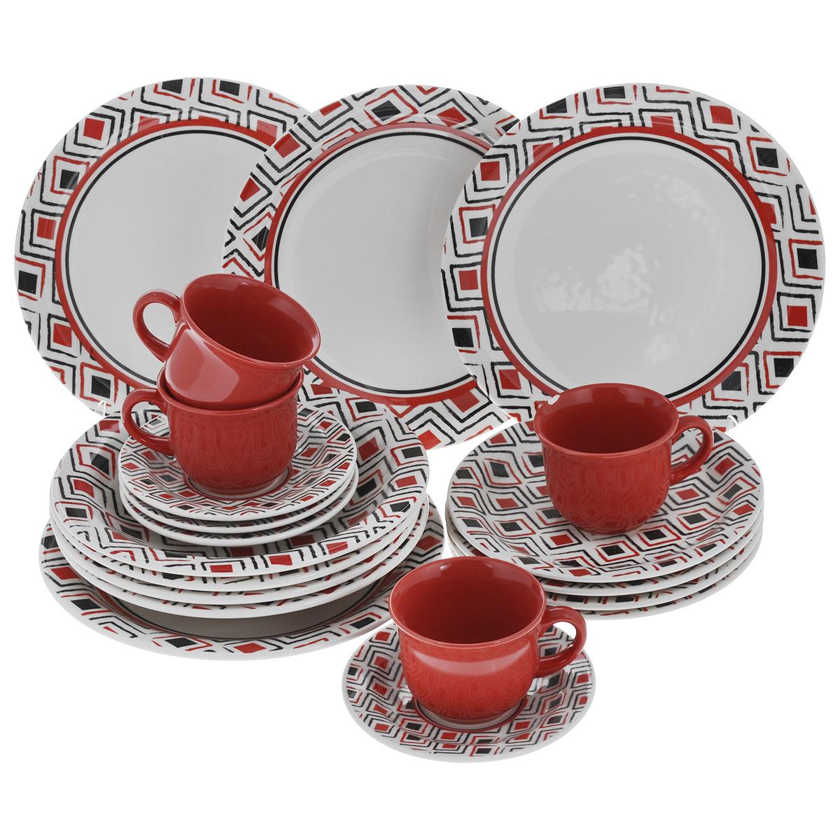 Набор столовый Biona Marajo, 20 предметов6752MARAJO-5Столовый набор Biona Marajo состоит из 4 обеденных тарелок, 4 суповых тарелок, 4 десертных тарелок, 4 блюдец и 4 кружек. Изделия выполнены из высококачественной экологически чистой керамики, которая изготавливается путем спекания глин с минеральными добавками. В качестве покрытия используется глазурь, что подтверждено сертификатами качества и соответствует всем международным санитарным нормам. Изделия оформлены красивым геометричным рисунком, который наносится исключительно вручную. Еще одной особенностью марки является использование экологически чистой упаковки - эксклюзивный деревянный ящик с соломой внутри. Посуда легко моется в посудомоечных машинах, термостойкая (пищу можно подогреть в микроволновой печи, в духовом шкафу). Диаметр обеденной тарелки: 26 см. Диаметр суповой тарелки: 23 см. Диаметр десертной тарелки: 20 см. Диаметр блюдца: 15 см. Объем чашки: 200 мл. Диаметр чашки (по верхнему краю): 9 см. Высота чашки:...