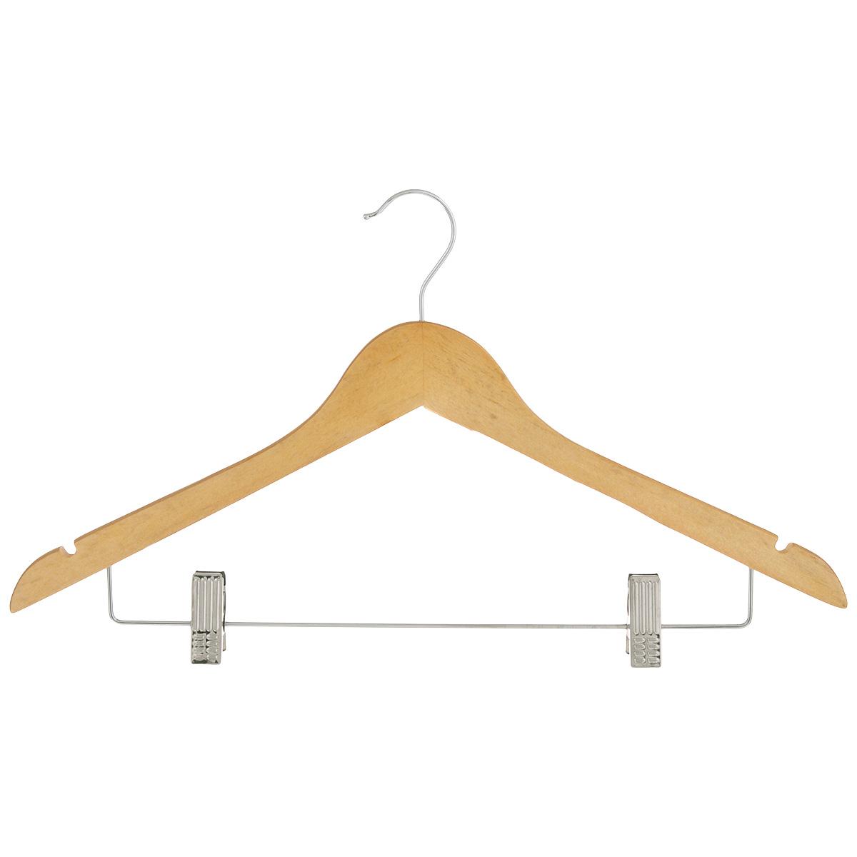 Вешалка Miolla, с клипсами для брюк, 44,5 см2511007Вешалка Miolla, изготовленная из дерева и металла, предназначена для аккуратного хранения одежды. Вешалка снабжена двумя выемками для юбок, металлической перекладиной и клипсами для брюк. Клипсы имеют специальные пластиковые накладки, чтобы не повредить ткань. Вешалка - это незаменимый аксессуар для того, чтобы ваша одежда всегда оставалась в хорошем состоянии.