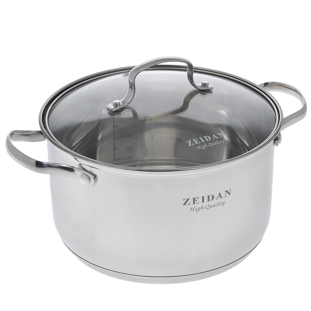 Кастрюля Zeidan с крышкой, 5,1 л. Z-50245Z-50245Кастрюля Zeidan изготовлена из высококачественной нержавеющей стали. Зеркальная полировка внутри и снаружи придает посуде безупречный внешний вид, увеличивает срок службы и облегчает мытье. Нержавеющая сталь отличается высокой экологической чистотой и долговечностью, устойчива к воздействию пищевых кислот, не образует соединений с компонентами пищи. Пятислойное капсулированное дно подходит для всех видов плит, отлично аккумулирует тепло и равномерно распределяет его по поверхности во время приготовления пищи. Эргономичные прочные ручки выполнены из хромоникелевой стали, способ крепления - на заклепках. Жаропрочная стеклянная крышка плотно прилегает к краям посуды, сохраняя аромат и вкус блюд, при этом можно наблюдать за готовностью пищи без потери тепла. Внутри имеются отметки литража. Кастрюля подходит для всех типов плит, включая индукционные. Можно мыть в посудомоечной машине. Диаметр кастрюли (по верхнему краю): 22 см. Высота стенки:...