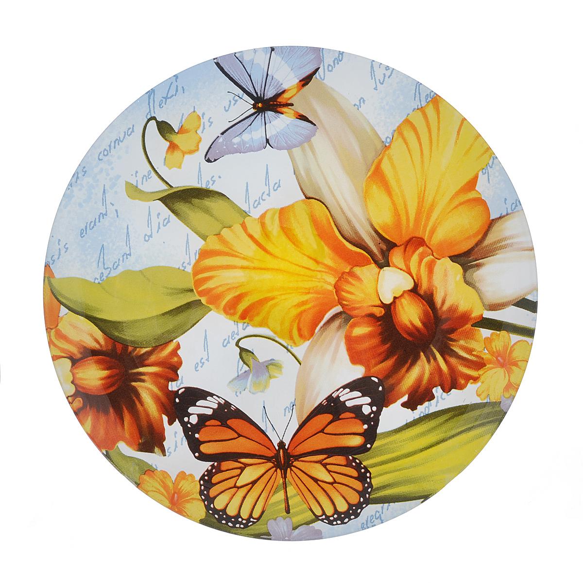 Тарелка Zibo Shelley Лето, диаметр 20 см115510Тарелка Zibo Shelley Лето изготовлена из высококачественного стекла. Предназначена для красивой подачи различных блюд. Изделие украшено ярким изображением цветов. Такая тарелка украсит сервировку стола и подчеркнет прекрасный вкус хозяйки.Можно мыть в посудомоечной машине. Диаметр: 20 см.Высота: 1 см.