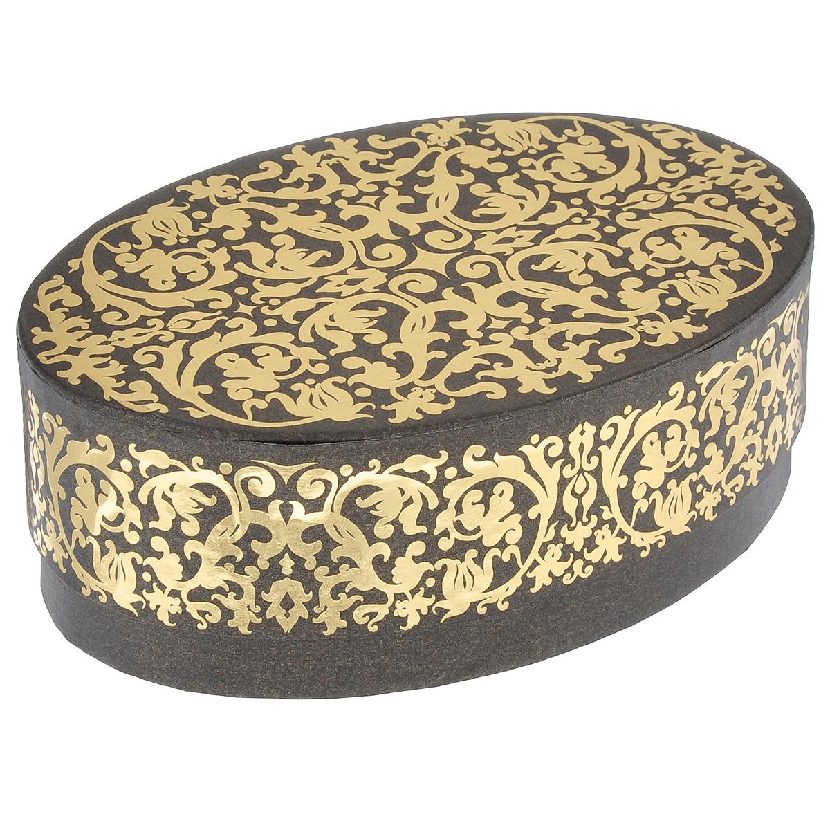Коробка подарочная Карамель, 18 см х 12 см х 6 см4610009210490Подарочная коробка Карамель изготовлена из плотного картона, оформленного красивым золотистым орнаментом. Прекрасно подходит в качестве подарочной упаковки для мелких предметов. Красивый дизайн привлекает внимание, кроме того, он универсальный, поэтому коробка подойдет в качестве подарочной упаковки как для женщин, так и для мужчин. Подарок, преподнесенный в оригинальной упаковке, всегда будет самым эффектным и запоминающимся. Окружите близких людей вниманием и заботой, вручив презент в нарядном, праздничном оформлении.