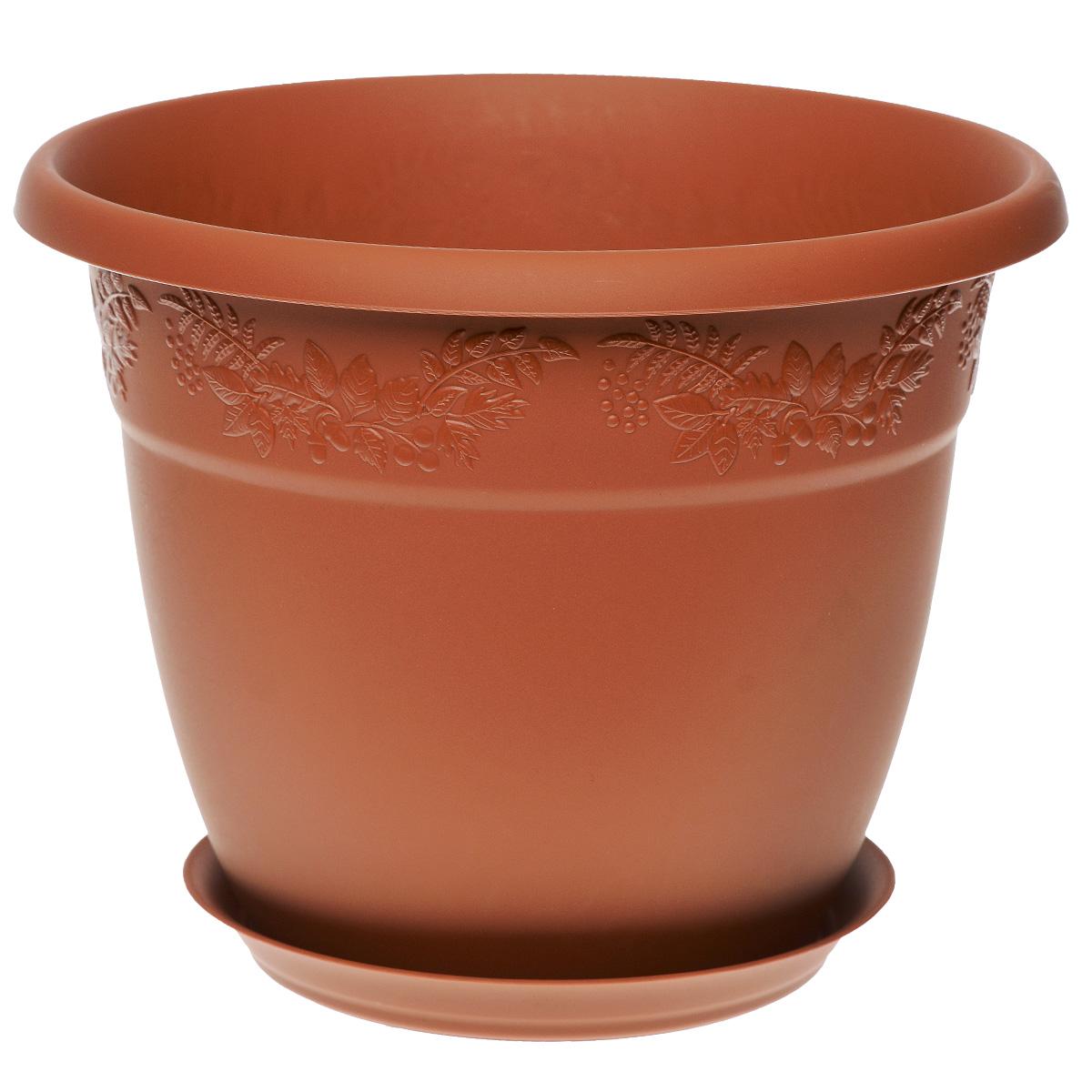 Кашпо Idea Рябина, с поддоном, цвет: терракотовый, 1,4 лZ-0307Кашпо Idea Рябина изготовлено из высококачественного полипропилена (пластика). Специальный поддон предназначен для стока воды. Изделие прекрасно подходит для выращивания растений и цветов в домашних условиях. Лаконичный дизайн впишется в интерьер любого помещения. Диаметр поддона: 11 см. Объем кашпо: 1,4 л.Диаметр кашпо по верхнему краю: 16 см.Высота кашпо: 12,5 см.