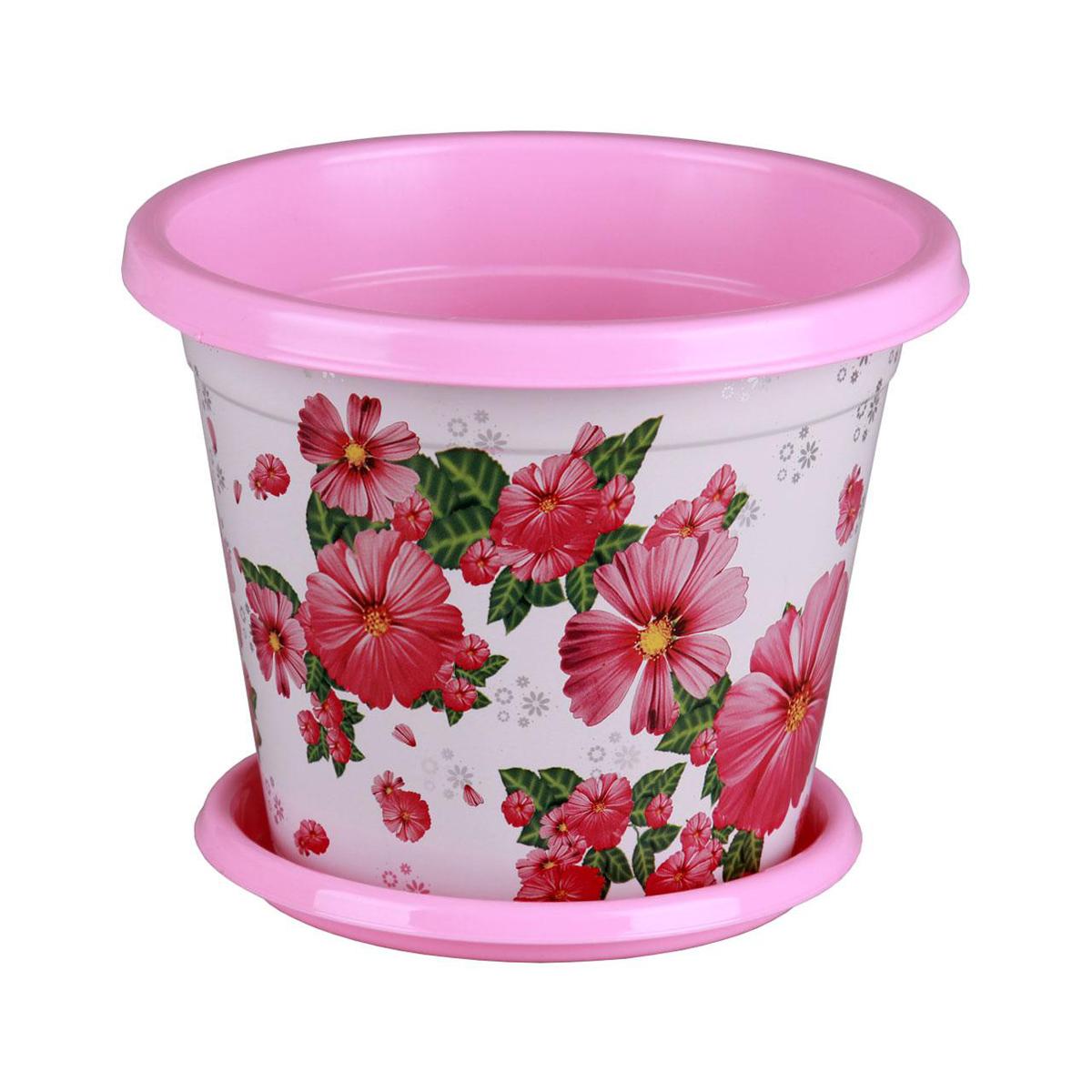 Горшок-кашпо Альтернатива Космея, с поддоном, цвет: розовый, белый, 5,5 лМ4040Горшок-кашпо Альтернатива Космея изготовлен из высококачественного пластика и подходит для выращивания растений и цветов в домашних условиях. Такие изделия часто становятся последним штрихом, который совершенно изменяет интерьер помещения или ландшафтный дизайн сада. Благодаря такому горшку-кашпо вы сможете украсить вашу комнату, офис, сад и другие места. Изделие оснащено специальным поддоном и декорировано ярким изображением цветов. Объем горшка: 5,5 л. Диаметр горшка (по верхнему краю): 25 см. Высота горшка: 21 см. Диаметр поддона: 19 см.