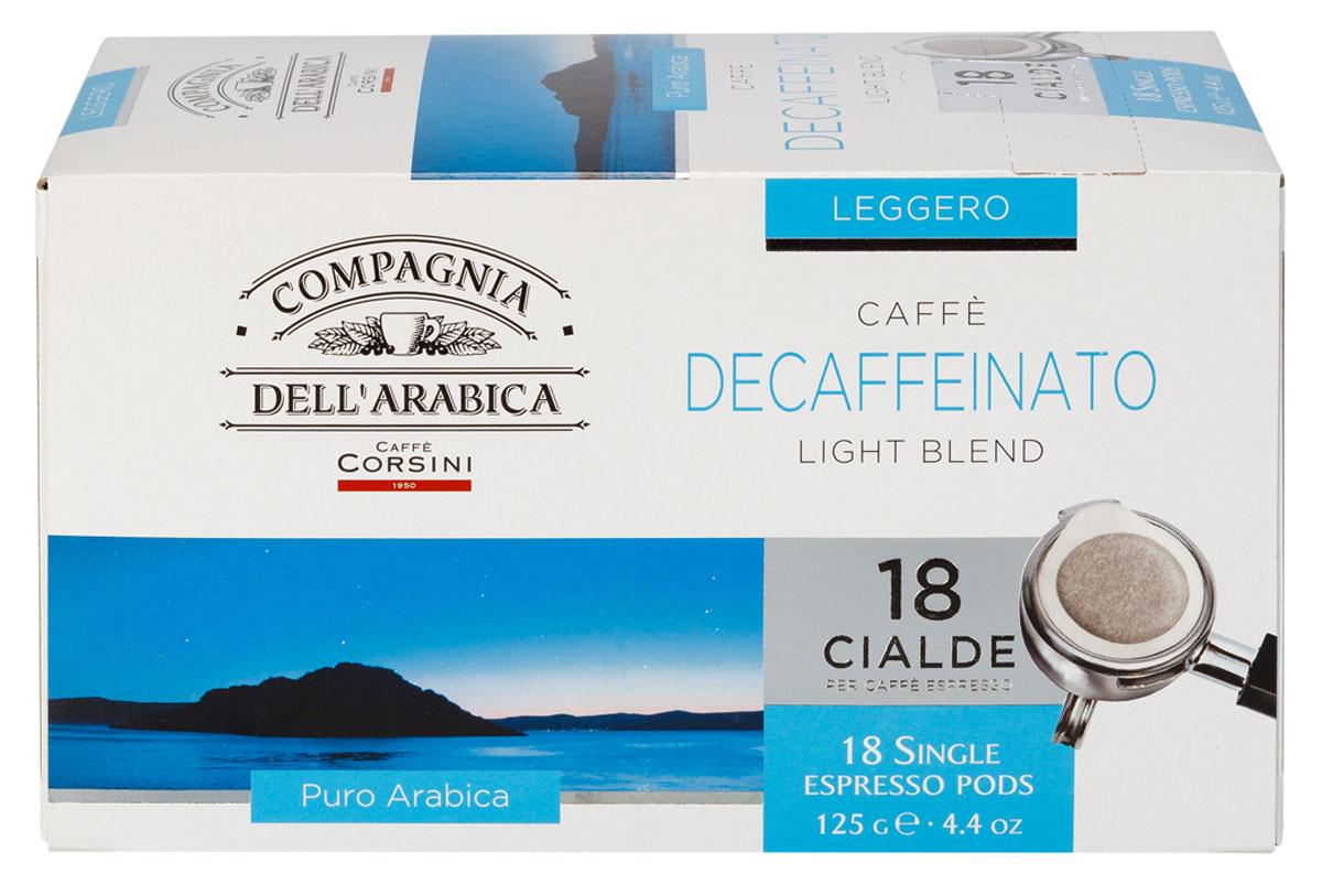 Compagnia DellArabica Caffe Decaffeinato кофе в чалдах, 18 шт8001684025787Compagnia DellArabica Caffe Decaffeinato - идеальный выбор для ценителей, имеющих ограничения в потреблении кофеина. Кофе декофеинизирован самым современным способом - водной декофеинизацией, что гарантирует аромат и крепость классического кофе. Содержание кофеина около 10 мг. Сорт обладает свежим, мягким вкусом и земным ароматом. Для приготовления в чалдовых кофемашинах.