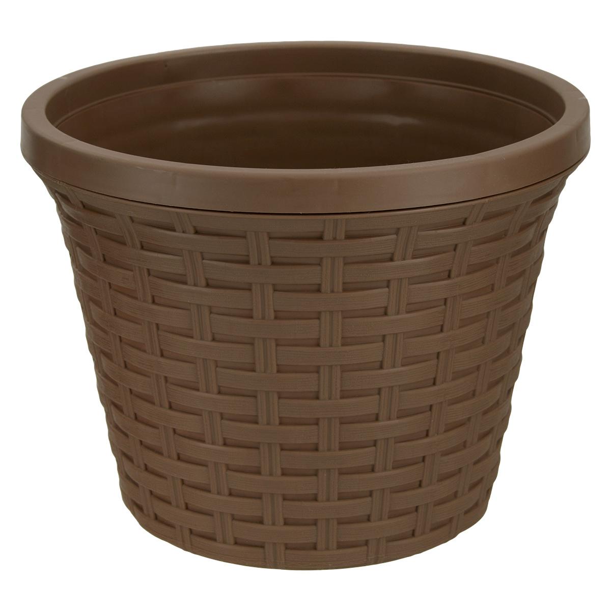Кашпо круглое Violet Ротанг, с дренажной системой, цвет: какао, 3,4 л19201Круглое кашпо Violet Ротанг изготовлено из высококачественного пластика и оснащено дренажной системой для быстрого отведения избытка воды при поливе. Изделие прекрасно подходит для выращивания растений и цветов в домашних условиях. Лаконичный дизайн впишется в интерьер любого помещения.Объем: 3,4 л.