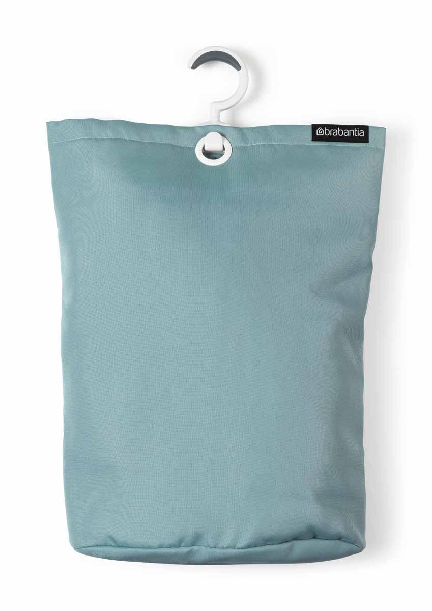 Сумка для белья Brabantia, подвесная, цвет: мятный106064Прочная текстильная сумка для белья Brabantia - это отличное приобретение для вашего дома. Порой грязное белье можно найти в самых неожиданных местах. Чтобы этого избежать, просто положите его в сумку и повесьте в каждой комнате - получаем идеальный порядок! Если вы собрались стирать, просто выгрузите белье в стиральную машину, перевернув за специальную петельку, расположенную на дне сумки. Сумка существенно экономит место, ее можно подвесить на ручку двери, бельевую веревку, в шкаф. Изделие имеет большой вращающийся крючок с нескользящей поверхностью, выполненный из пластика. Сумка вместительна - объем до 35 литров.