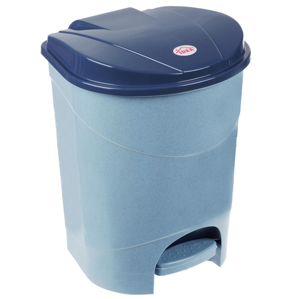 Контейнер для мусора Idea, с педалью, цвет: голубой мрамор, 11 лМ 2891Мусорный контейнер Idea, выполненный из прочного пластика, не боится ударов и долгих лет использования. Изделие оснащено педалью, с помощью которой можно открыть крышку. Закрывается крышка практически бесшумно, плотно прилегает, предотвращая распространение запаха. Внутри пластиковая емкость для мусора, которую при необходимости можно достать из контейнера. Интересный дизайн разнообразит интерьер кухни и сделает его более оригинальным.