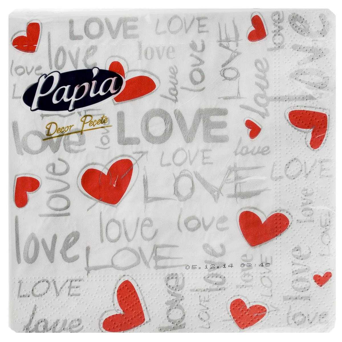 Салфетки бумажные Papia Decor, трехслойные, цвет: белый, серый, красный, 33 x 33 см, 20 шт15302_белый/LoveТрехслойные салфетки Papia Decor, выполненные из 100% целлюлозы, оформлены красочным рисунком. Салфетки предназначены для красивой сервировки стола. Оригинальный дизайн салфеток добавит изысканности вашему столу и поднимет настроение. Размер салфеток: 33 см х 33 см.