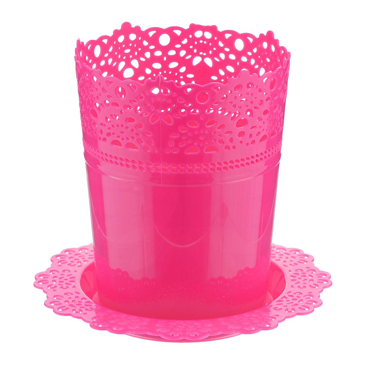 Кашпо Idea Ажур, с подставкой, цвет: розовый, диаметр 11,5 смМ 3091Кашпо Idea Ажур изготовлено из полипропилена (пластика). Специальная подставка предназначена для стока воды. Верх изделия и подставка оформлены перфорацией, напоминающей кружево. Изделие прекрасно подходит для выращивания растений и цветов в домашних условиях. Диаметр подставки: 16,5 см. Высота кашпо: 15 см. Диаметр кашпо: 11,5 см.