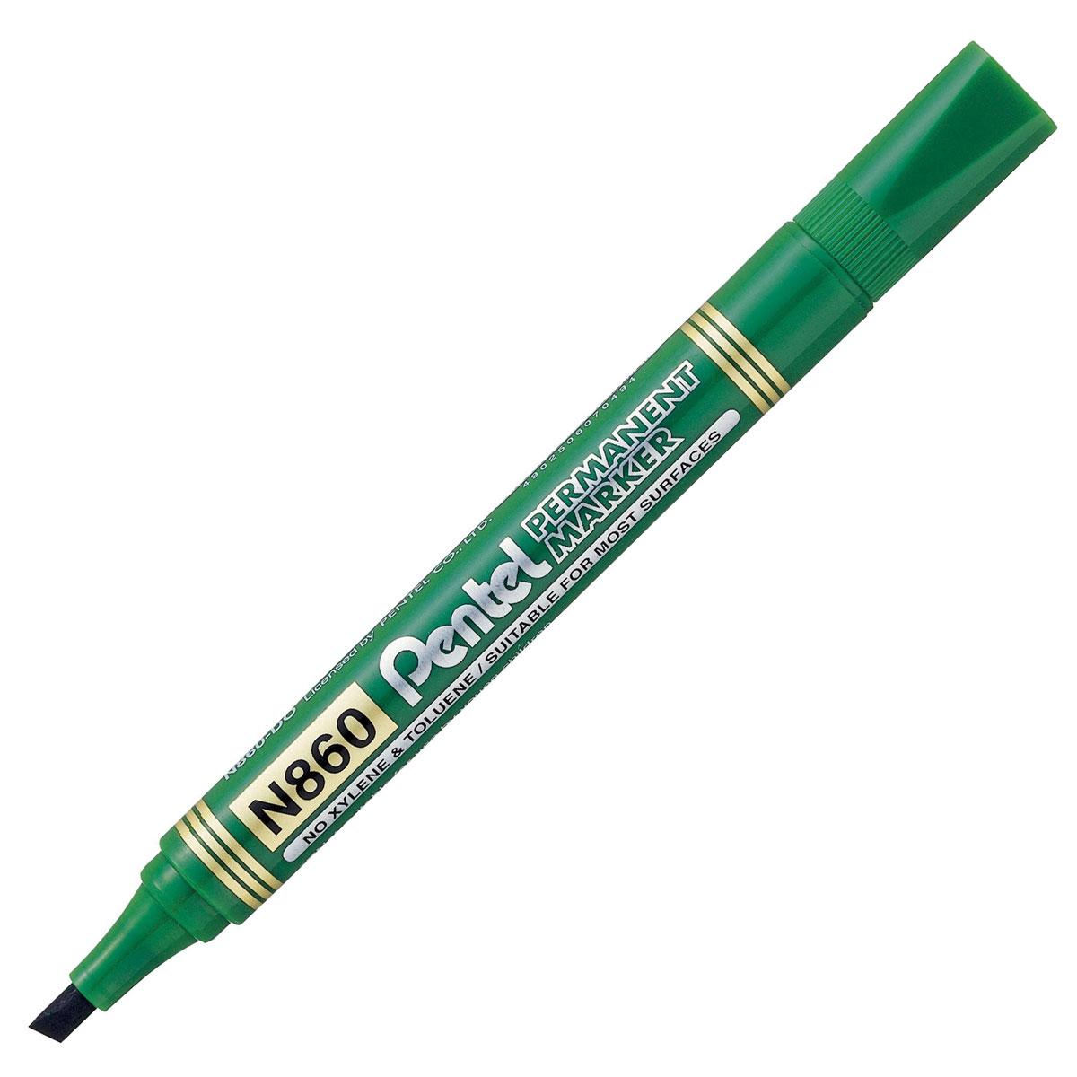 Pentel Маркер перманентный Chisel Point, цвет: зеленый610842Маркер перманентный Pentel Chisel Point со скошенным наконечником позволяет проводить линии шириной от 1.8 до 4.5 мм. Маркер заправлен перманентными чернилами, они быстро высыхают, чернила свето- и влагостойкие. Надписи, сделанные этим маркером, устойчивы к истиранию. Подходит для маркирования на бумаге, картоне, пластике, стекле и металле.