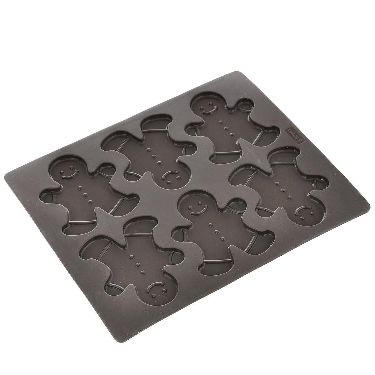 Форма для выпечки Lurch Flexi Form, цвет: коричневый, 6 ячеек65014Форма Lurch Flexi Form будет отличным выбором для всех любителей выпечки. Благодаря тому, что форма изготовлена из платинового силикона, готовую выпечку вынимать легко и просто. Изделие выполнено в форме прямоугольника с 6 ячейками в виде человечков. Форма прекрасно подойдет для выпечки печенья. Хорошие энергетические показатели позволяют снизить температуру выпекания примерно на 10%. Поэтому время выпекания и температура всегда выбираются для вашей печи. Можно мыть в посудомоечной машине, использовать в морозильной камере до температуры -40°C. Количество ячеек: 6 шт. Общий размер формы: 30 см х 24 см х 0,5 см. Размер ячейки: 8,9 см х 10,5 см х 0,5 см.
