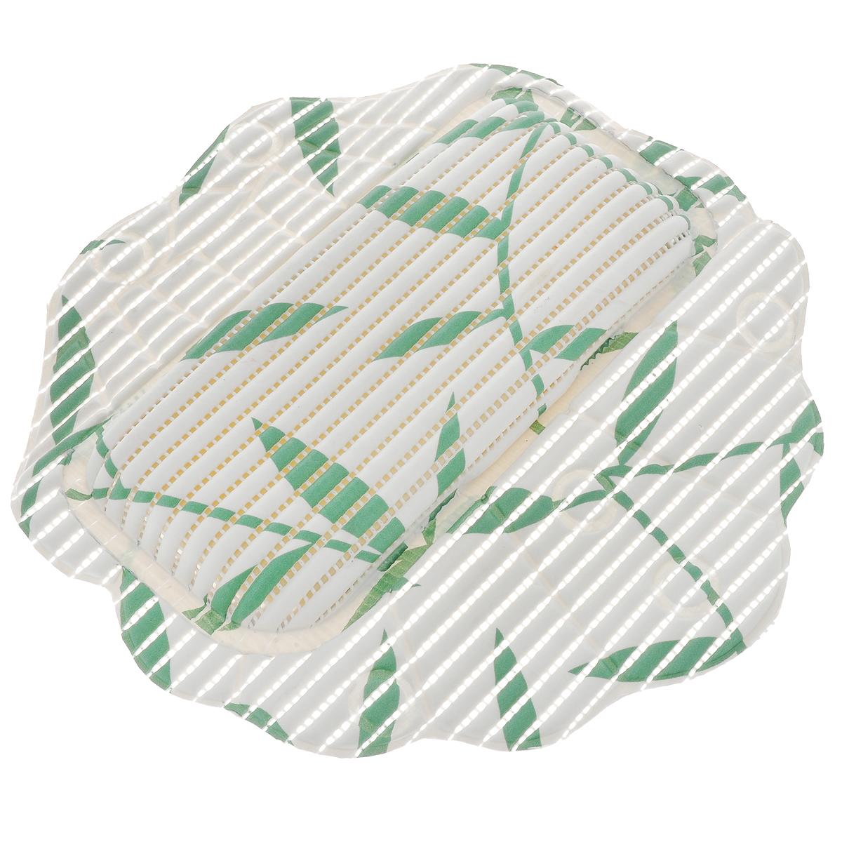 Подушка для ванны Fresh Code Flexy, на присосках, цвет: белый, зеленый, 33 см х 33 см80653Подушка для ванны Fresh Code Flexy обеспечивает комфорт во время принятия ванны. Крепится на поверхность ванной с помощью присосок. Выполнена из ПВХ.
