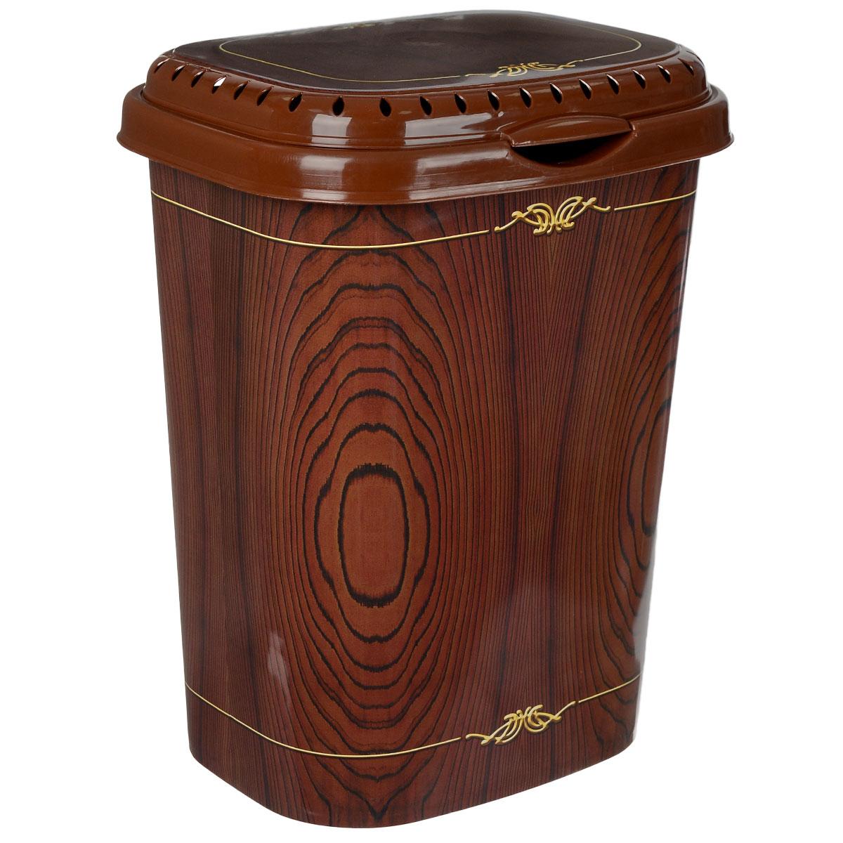 Корзина для белья Violet Дерево с крышкой, цвет: коричневый, желтый, 55 л80653Легкая и удобная корзина Violet Дерево прямоугольной формы изготовлена из пластика. Она отлично подойдет для хранения белья перед стиркой. Сплошные стенки с небольшими отверстиями на крышке скрывает содержимое корзины от посторонних и создает идеальные условия для проветривания. Изделие оснащено крышкой. Такая корзина для белья прекрасно впишется в интерьер ванной комнаты.