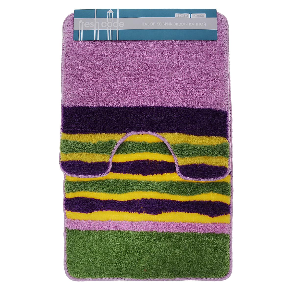 Комплект ковриков для ванной Fresh Code, цвет: салатовый, сиреневый, фиолетовый, 2 предмета55010_салатовый, сиреневый, фиолетовыйКомплект Fresh Code состоит из коврика для ванной комнаты и туалета. Коврики изготовлены из акрила. Это экологически чистый, быстросохнущий, мягкий и износостойкий материал. Красители устойчивы, поэтому коврики не потускнеют даже после многократных стирок. Благодаря латексной основе коврики не скользят на полу. Края изделий обработаны оверлоком. Набор для ванной Fresh Code подарит ощущение тепла и комфорта, а также привнесет уют в вашу ванную комнату. Высота ворса: 1 см. Размер коврика для ванной комнаты: 80 см х 50 см. Размер коврика для туалета: 50 см х 50 см.