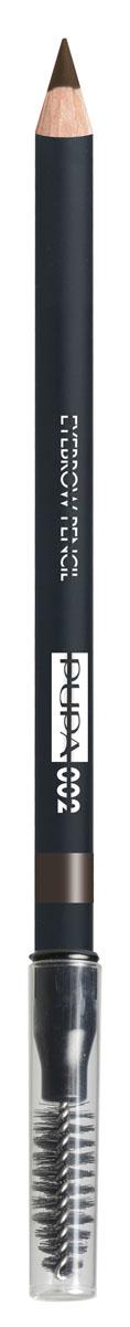 PUPA Карандаш для бровей тон 002 EYEBROW PENCIL Коричневый, 1,08 г28420_красныйКарандаш для бровей выделяет и подчеркивает брови и обеспечивает создание натурального и естественного макияжа.Формула: содержит пластичный и мягкий воск, который обеспечивает безупречное нанесение, четкую и структурированную линию, гарантирует водостойкий результат и стойкий эффект надолго. Упаковка: Деревянный корпус черного сатинового цвета; Серебряный логотип и нанесение цвета кольцом; Аппликатор в форме кисти.