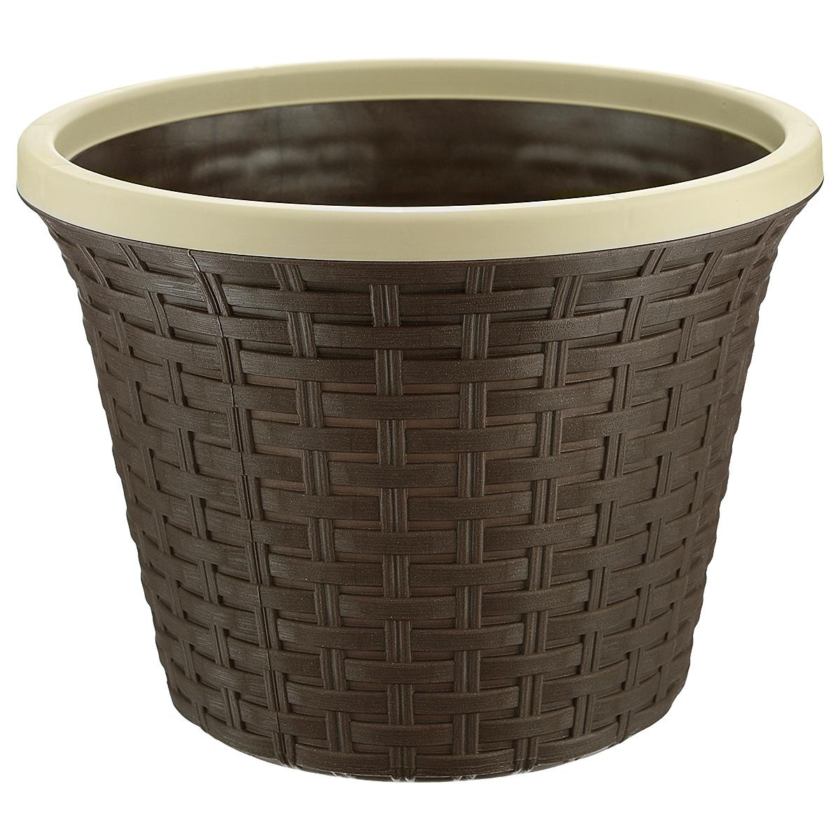 Кашпо Violet Ротанг, с дренажной системой, цвет: коричневый, 6,5 л32650/1Кашпо Violet Ротанг изготовлено из высококачественного пластика и оснащено дренажной системой для быстрого отведения избытка воды при поливе. Изделие прекрасно подходит для выращивания растений и цветов в домашних условиях. Лаконичный дизайн впишется в интерьер любого помещения. Объем: 6,5 л.