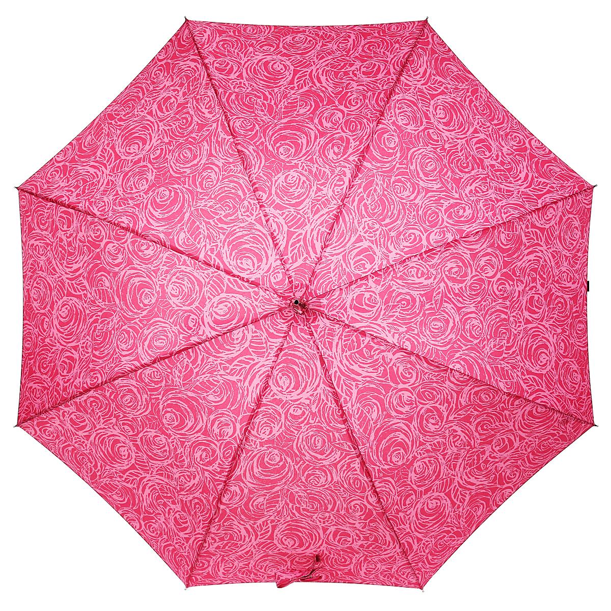 Зонт-трость Fulton Eliza, механический, женский, цвет: розовый. L600 3F2634L600-2634Стильный механический зонт-трость Fulton Eliza даже в ненастную погоду позволит вам оставаться элегантной. Каркас зонта выполнен из восьми спиц из фибергласса, стержня из алюминия и ручки закругленной формы. Рукоятка разработана с учетом требований эргономики и обтянута искусственной кожей. Купол зонта выполнен из прочного полиэстера розового цвета и оформлен цветочным принтом. Закрытый купол фиксируется хлястиком на липучке. Зонт оснащен механическим типом сложения: купол открывается и закрывается вручную до характерного щелчка. Зонт-трость Eliza не только надежно защитит вас от дождя, но и станет стильным аксессуаром. Характеристики: Материал: полиэстер, фибергласс, алюминий, пластик, искусственная кожа. Вес: 270 г.