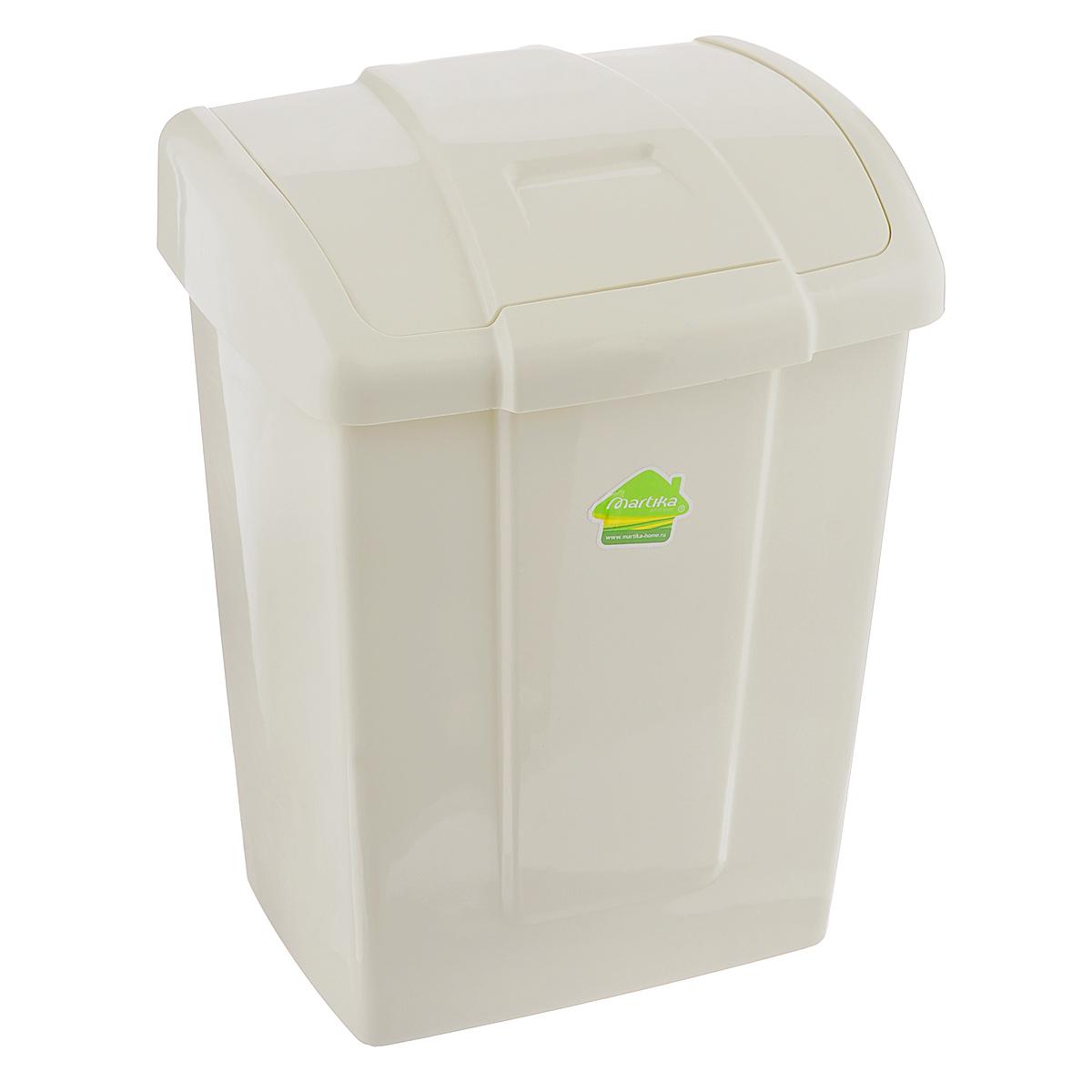 Контейнер для мусора Martika Форте, цвет: светло-бежевый, 9 л68/5/2Контейнер для мусора Martika Форте изготовлен из прочного полипропилена (пластика). Такой аксессуар очень удобен в использовании как дома, так и в офисе. Контейнер снабжен удобной поворачивающейся крышкой. Стильный дизайн сделает его прекрасным украшением интерьера.