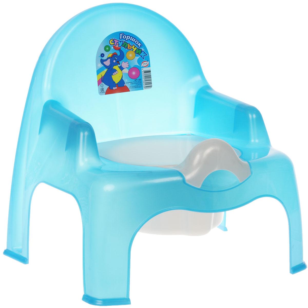 Эльфпласт Горшок-стульчик, с крышкой, цвет: голубой 023