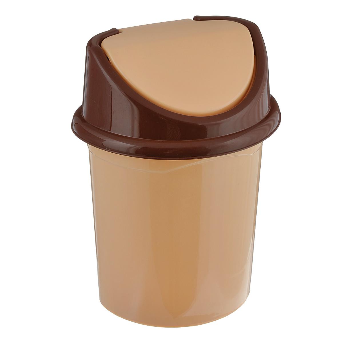 Контейнер для мусора Violet, цвет: бежевый, коричневый, 8 лUP210DFКонтейнер для мусора Violet изготовлен из прочного пластика. Контейнер снабжен удобной съемной крышкой с подвижной перегородкой. В нем удобно хранить мелкий мусор. Благодаря лаконичному дизайну такой контейнер идеально впишется в интерьер и дома, и офиса.