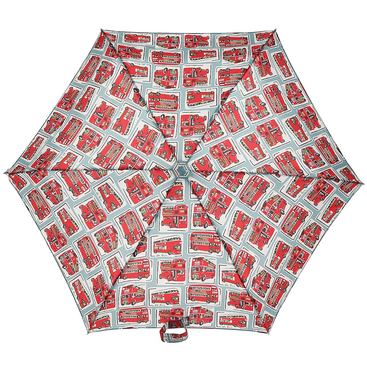 Зонт женский Fulton Cath Kidston: Tiny-2, механический, 5 сложений, цвет: серый, красный. L521-2843L521-2843Оригинальный механический зонт Fulton Cath Kidston: Tiny-2 с интересным дизайном произведен из высококачественных материалов. Каркас зонта изготовлен из шести алюминиевых спиц, стержня и ручки из дерева. Рукоятка зонта для удобства оснащена шнурком, позволяющим при необходимости надеть зонт на руку. Купол зонтика выполнен из полиэстера и оформлен изображением множества автобусов. Закрытый купол фиксируется хлястиком на липучке. Зонт механического сложения: купол открывается и закрывается вручную до характерного щелчка. Благодаря необыкновенно компактным размерам зонта в сложенном виде, его с легкостью можно поместить в маленькой сумочке. Зонт поставляется в чехле. Женский зонт Fulton Cath Kidston: Tiny-2 станет для вас необходимым аксессуаром в ненастную погоду.