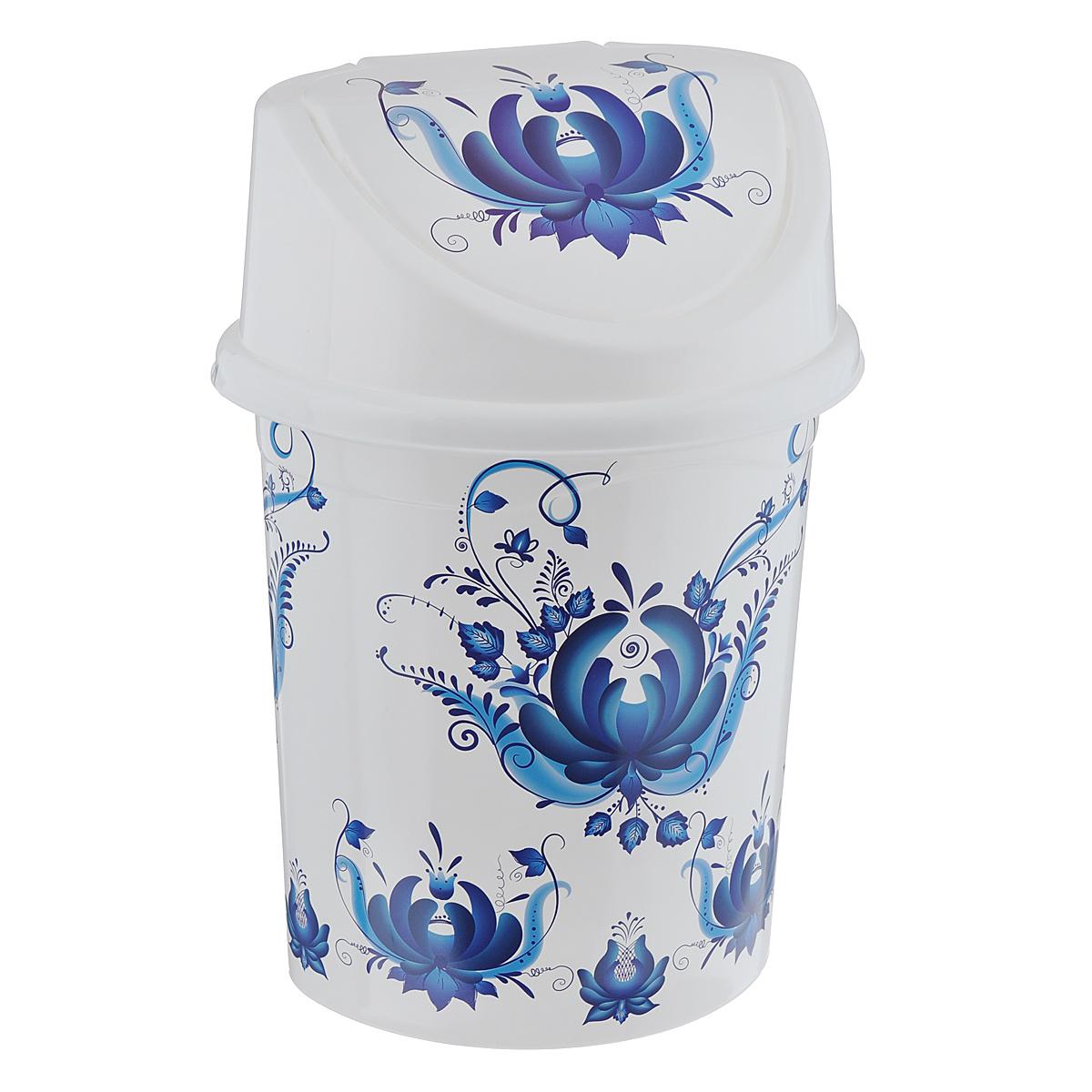 Контейнер для мусора Violet Гжель, цвет: белый, синий, 8 л68/5/3Контейнер для мусора Violet Гжель изготовлен из прочного пластика. Контейнер снабжен удобной съемной крышкой с подвижной перегородкой.Благодаря стильному дизайну такой контейнер идеально украсит интерьер и дома, и офиса.Размер изделия: 21 см x 26 см x 36 см.