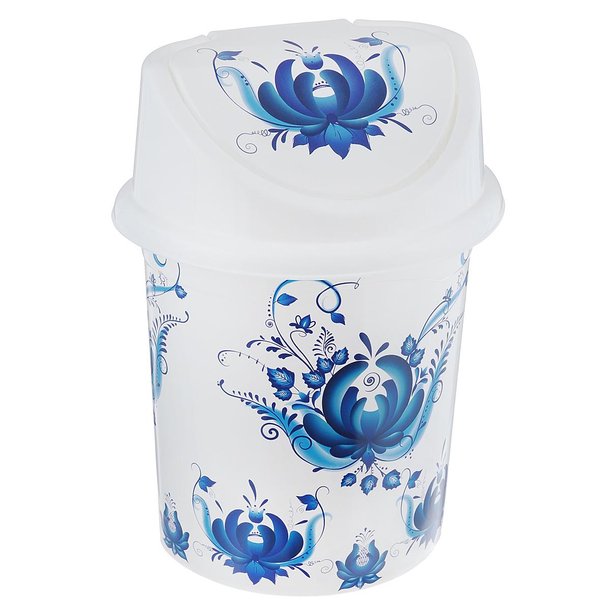 Контейнер для мусора Violet Гжель, цвет: белый, синий, 4 л0404/78Контейнер для мусора Violet Гжель изготовлен из прочного пластика. Контейнер снабжен удобной съемной крышкой с подвижной перегородкой. В нем удобно хранить мелкий мусор. Благодаря стильному дизайну такой контейнер идеально впишется в интерьер и дома, и офиса. Размер изделия: 16 см x 20 см x 27 см.