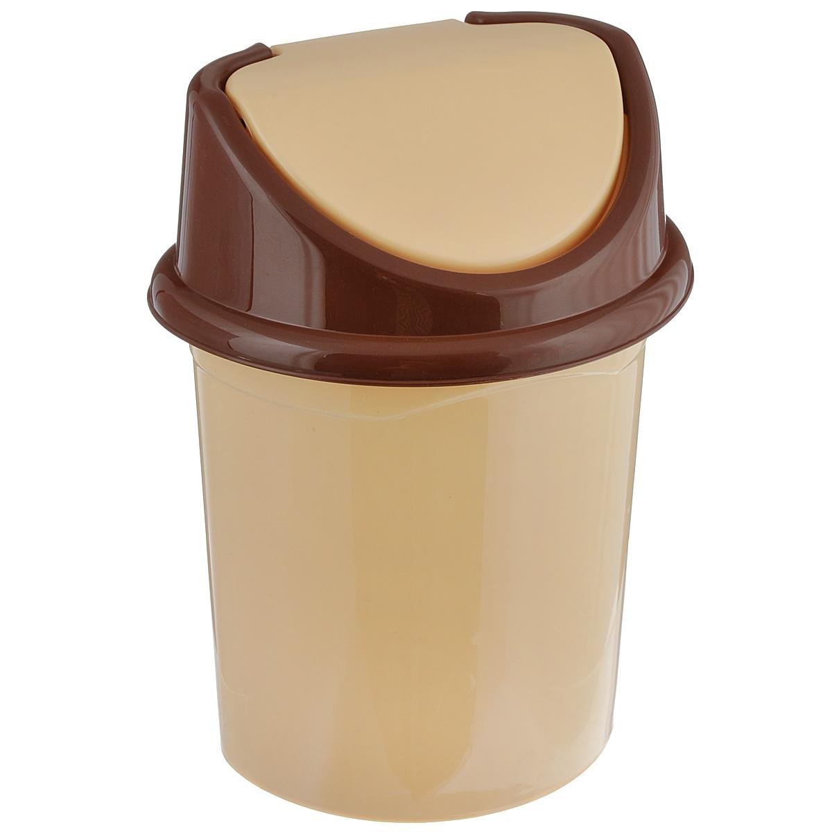 Контейнер для мусора Violet, цвет: бежевый, коричневый, 4 л0404/2Контейнер для мусора Violet изготовлен из прочного пластика и снабжен удобной съемной крышкой с подвижной перегородкой. В нем удобно хранить мелкий мусор. Благодаря лаконичному дизайну такой контейнер идеально впишется в интерьер и дома, и офиса. Размер изделия: 16 см x 20 см x 27 см.