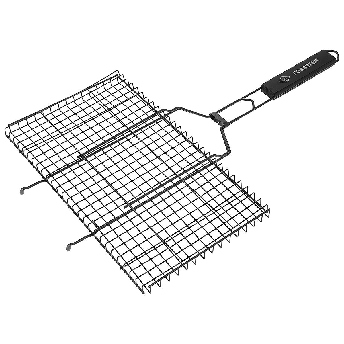 Решетка-гриль Forester, с антипригарным покрытием, цвет: черный, 45 см х 25 смBQ-NS02_черныйУниверсальная решетка-гриль Forester изготовлена из высококачественной стали с антипригарным покрытием. На решетке удобно размещать стейки, ребрышки, гамбургеры, сосиски, рыбу, овощи. Предназначена для приготовления пищи на углях. Блюда получаются сочными, ароматными, с аппетитной специфической корочкой. Рукоятка изделия оснащена деревянной вставкой и фиксирующей скобой, которая зажимает створки решетки. Размер рабочей поверхности решетки (без учета усиков): 45 см х 25 см. Общая длина решетки (с ручкой): 69 см.
