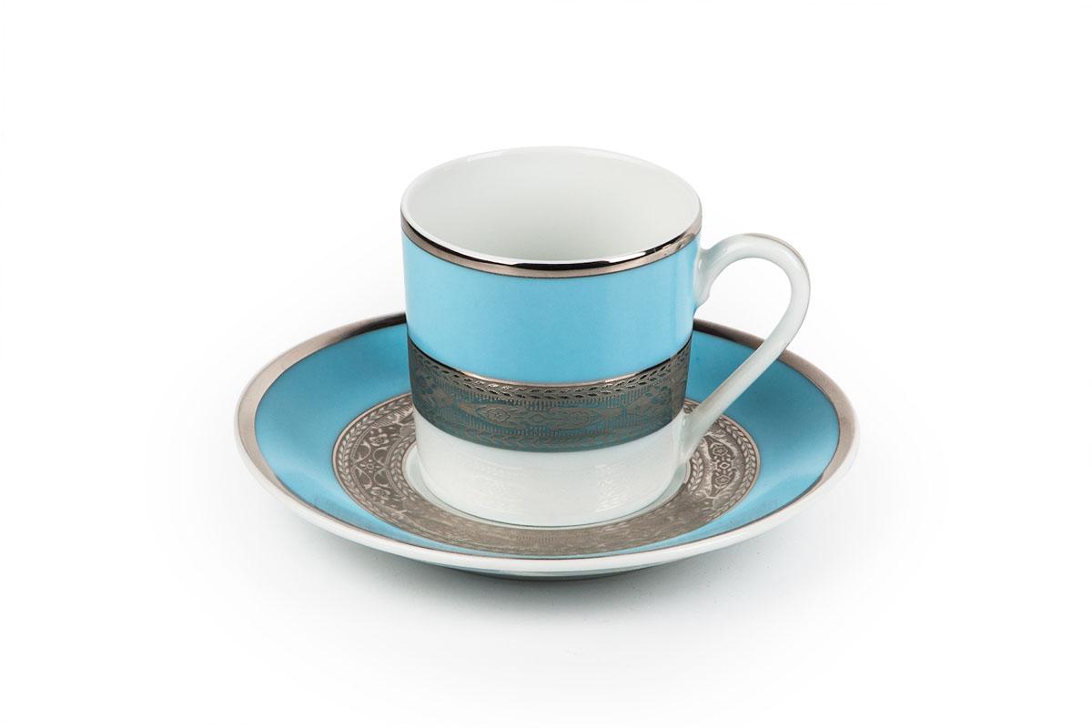 Mimosa 1626, набор кофейных пар (6 шт), цвет: бело-голубой с платиной539012 1626Кофейная пара 120 мл * 6 штук/ 12 предметов Материал: фарфор: цвет: бело-голубой с платиной Серия: MIMOSA