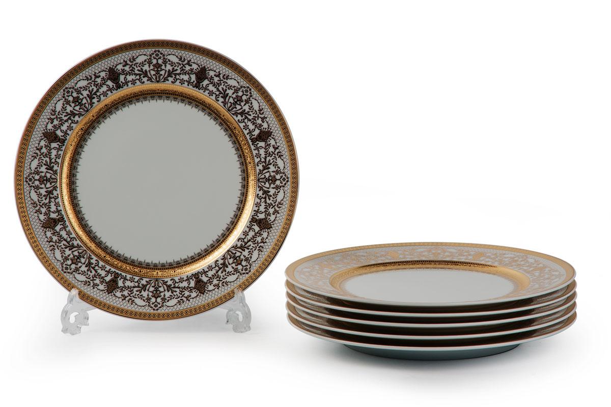 Mimosa 1645, Набор тарелок 27 см *6шт115610В наборе тарелка 27 см 6 штук Материал: фарфор, цвет: белый с золотом