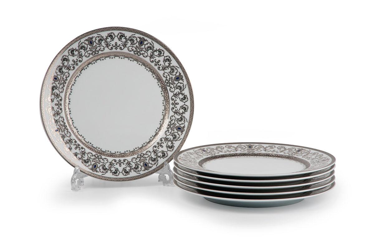 Mimosa 1647, набор тарелок 22см (6 шт), цвет: белый с платиной539117 1647В наборе тарелка 22 см 6 штук Материал: фарфор: цвет: белый с платиной Серия: Prague Platine