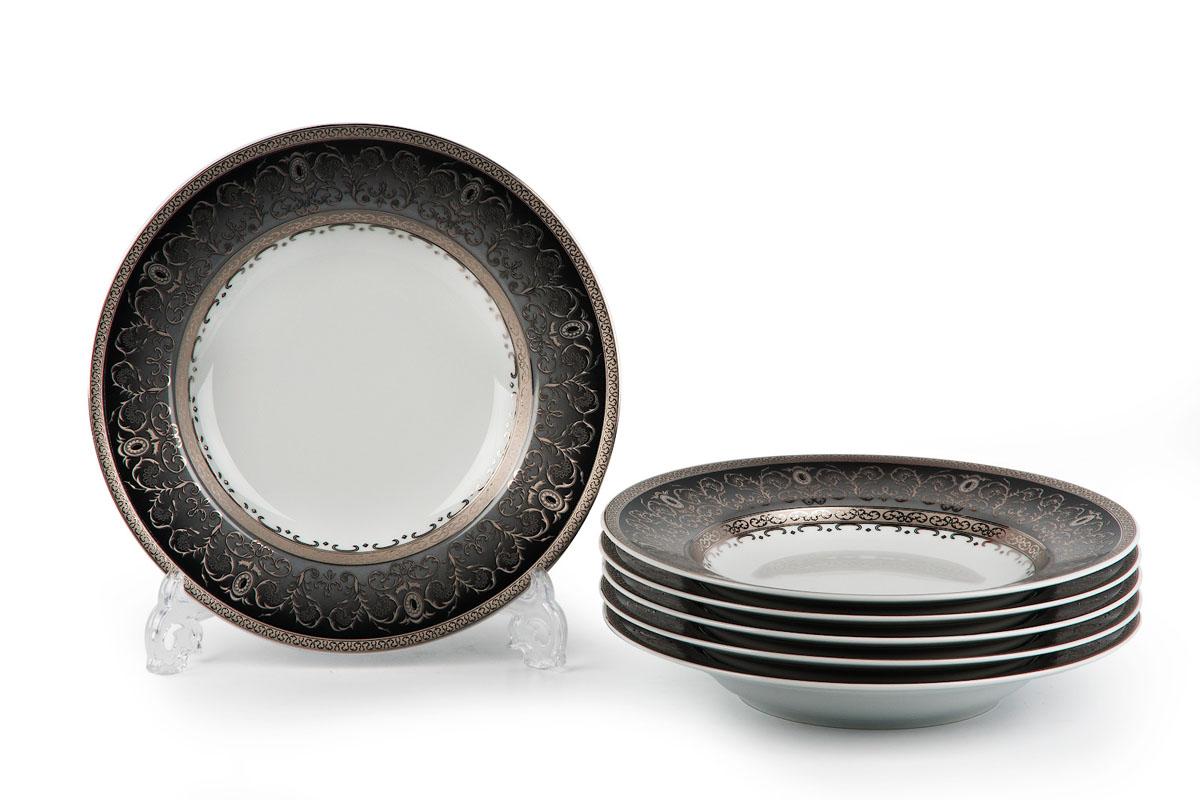 Mimosa, Prague Gris 1743, набор тарелок ГЛУБОКИХ (6шт), цвет: черно-белый с платиной539124 1743В наборе глубокая тарелка 6 штук Материал: фарфор: цвет: черно-белый с платиной Серия: MIMOSA
