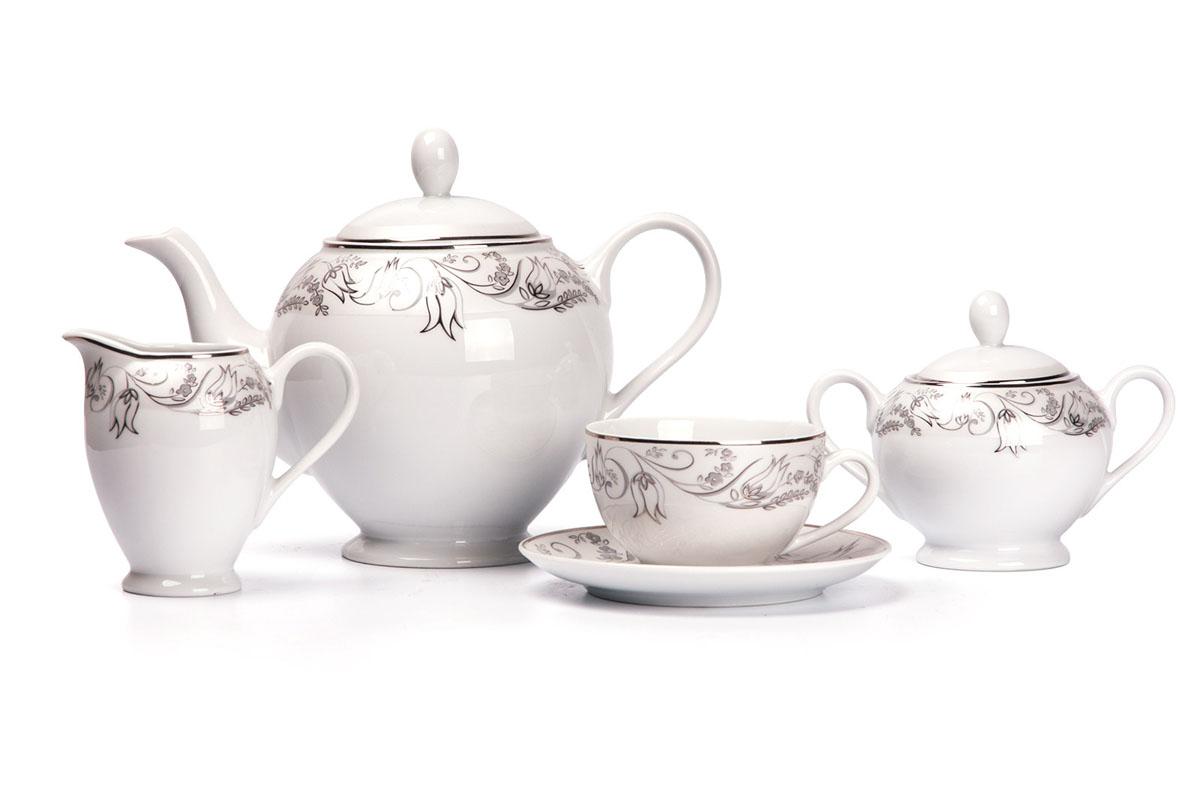Mimosa 1589 сервиз чайный 15пр, цвет: белый с платиной539510 1589Чайник 1,2л, сахарница 250мл, молочник 220мл, чайная пара 200 мл *6 штук. Фарфор фабрики Tunisie Porcelaine, производится в Тунисе из знаменитой своим качеством и белизной глины, добываемой во французской провинции Лимож.Преимущества этого фарфора заключаются в устойчивости к сколам и трещинам, что возможно благодаря двойному термическому обжигу. Европейский дизайн, декор и формы обеспечиваются за счет тесного сотрудничества фабрики с ведущими мировыми дизайн-бюро такими как: Nelly Reynal, Yves De la Rosiere, Sarah Anderson, Heracles. Материал: фарфор: цвет: белый с платиной Серия: MIMOSA