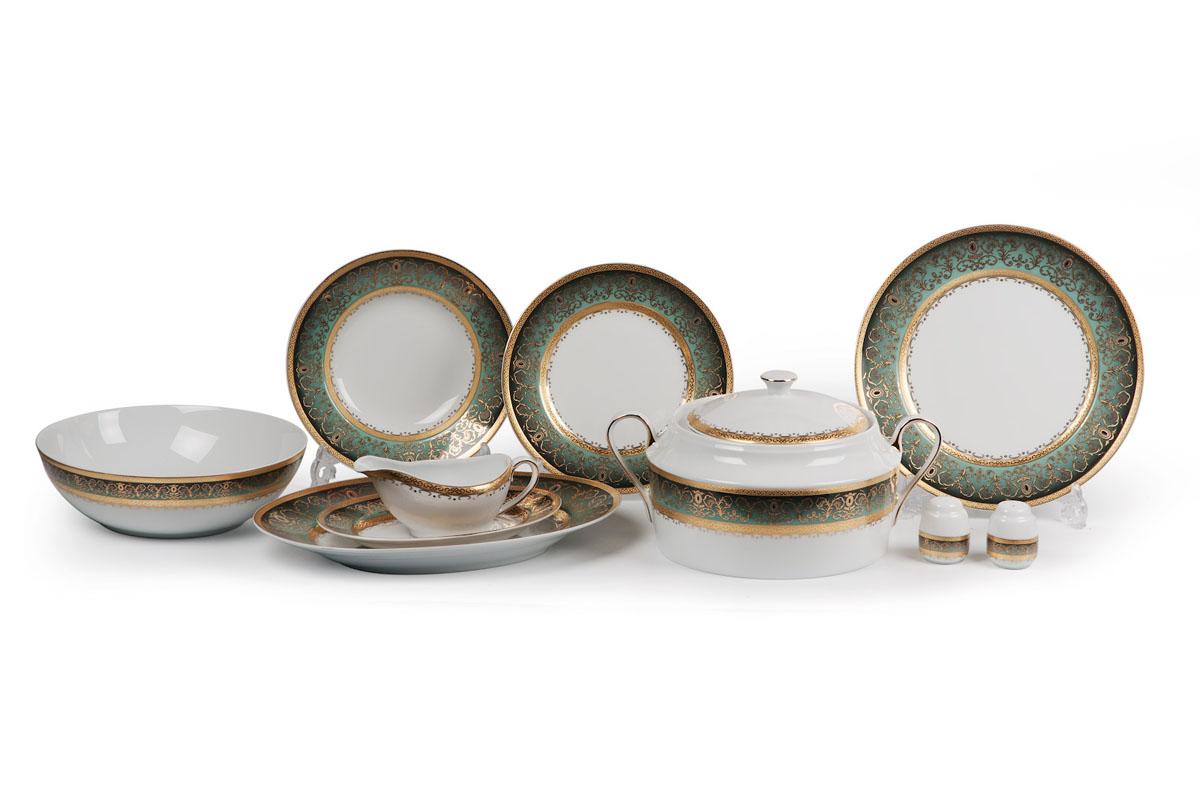 Mimosa Prague Degrade 1643, сервиз столовый 25 предметов, цвет: бело-зеленый с золотом539825 1643Супница 3,5 л , глубокая тарелка 22 см 6 штук , тарелка 27см 6 штук , десертная тарелка 21см 6 штук , солонка, перечница, Блюдо овальное 24 см, Блюдо овальное 35 см , салатник 25см, соусник 230мл. Элегантная посуда класса люкс теперь на вашем столе каждый день. Сделанные из высококачественного материала с использованием новейших технологий, предметы сервировки Tunisie Porcelaine невероятно прочны и прекрасно подходят для повседневного использования. Материал: фарфор: цвет: бело-зеленый с золотом Серия: MIMOSA